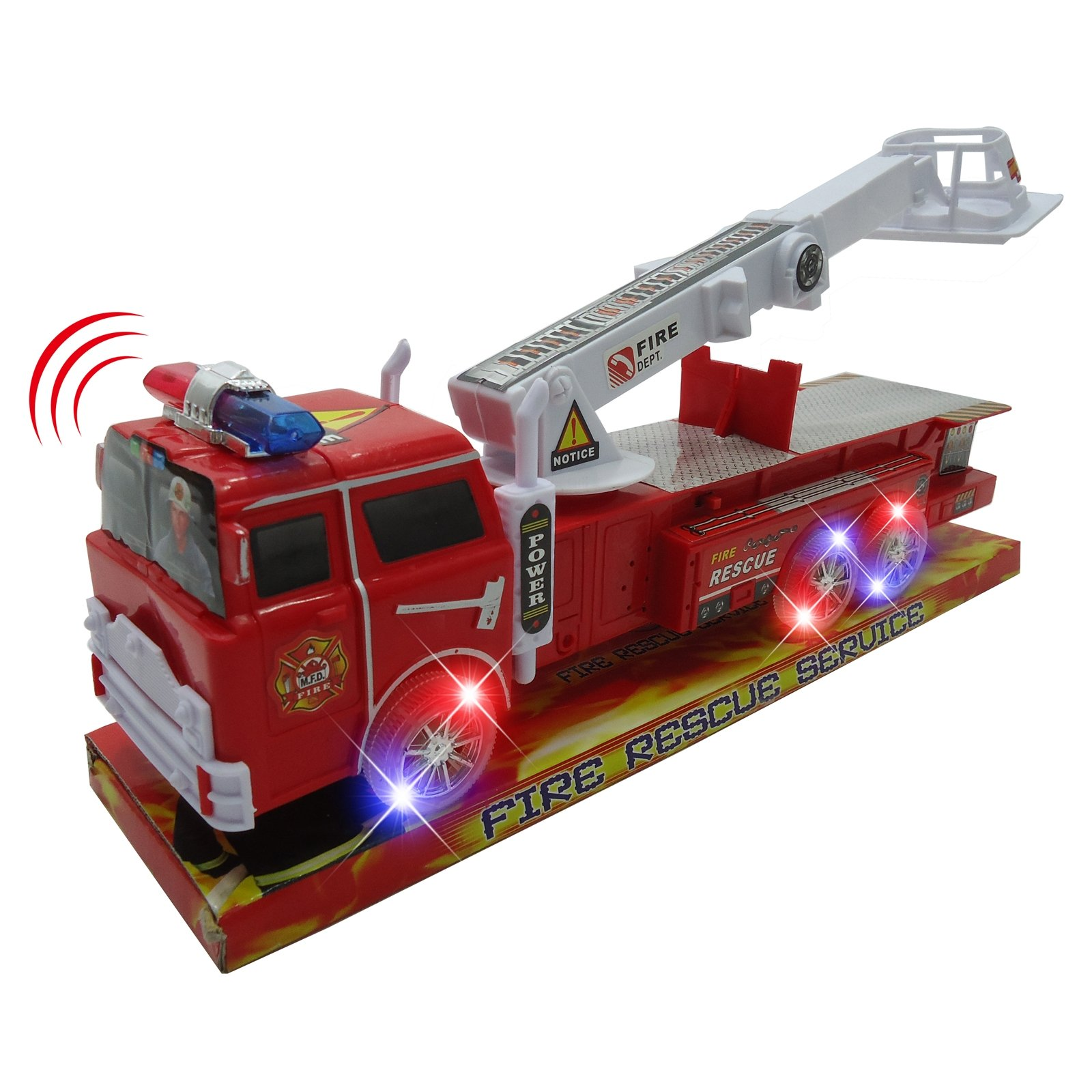 Light Up Fire Engine Rescue Truck with Firefighter Utility Bucket 14 Inch