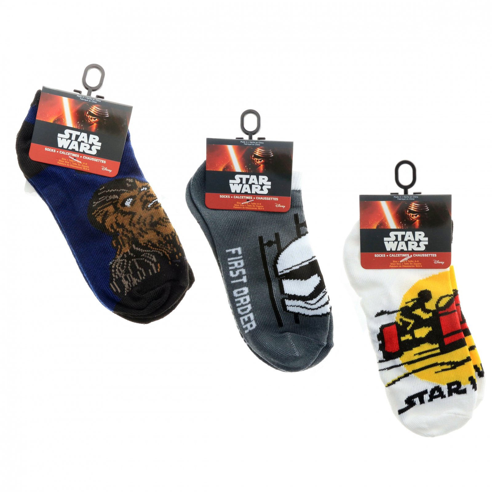 Star Wars Kids Ankle Socks Size 6-8 Boys Clothes Chewbacca Stormtrooper Jedi 3pk