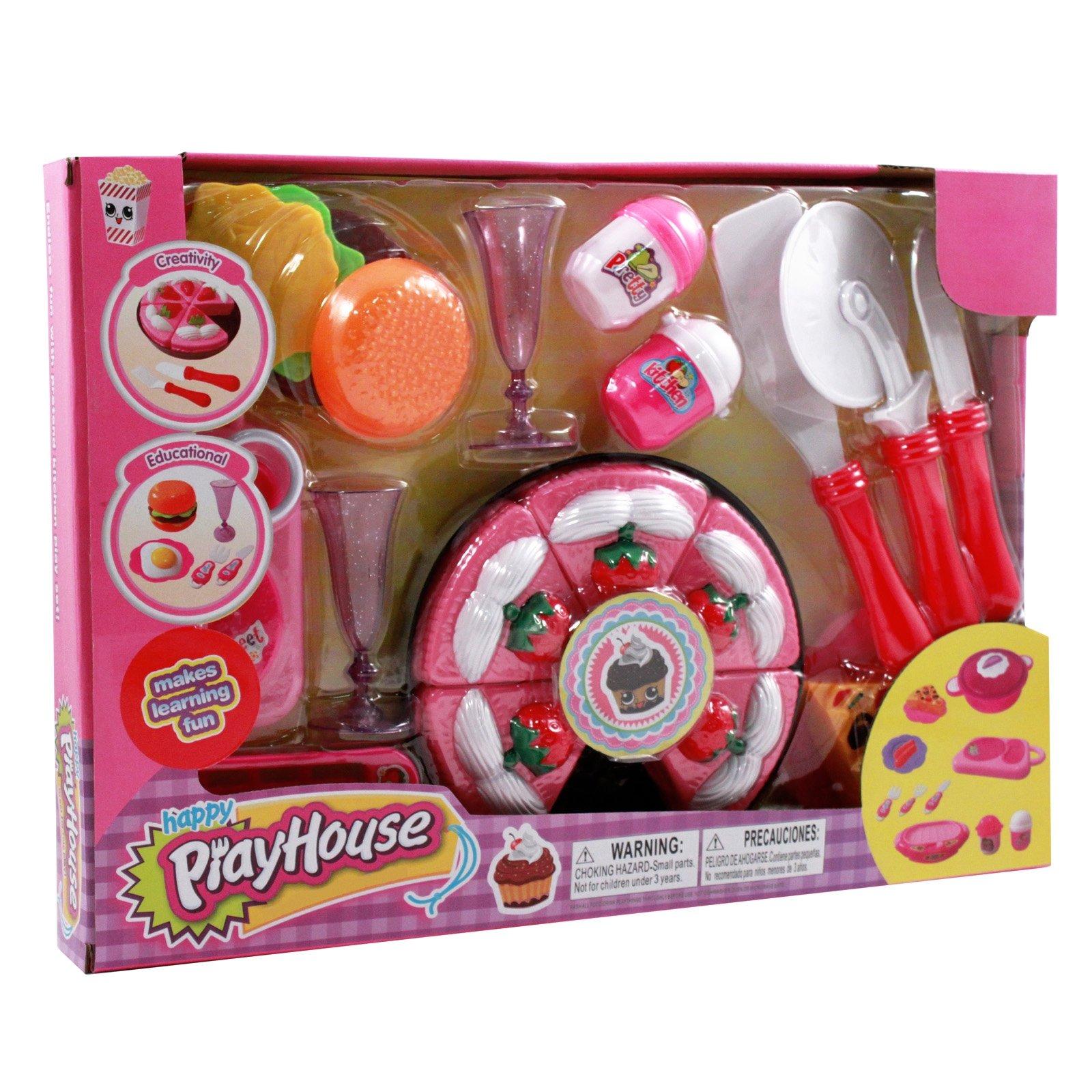 Kidfun Pretend Play Kitchen Playhouse Dessert Chef Pink Toy Set - Cake
