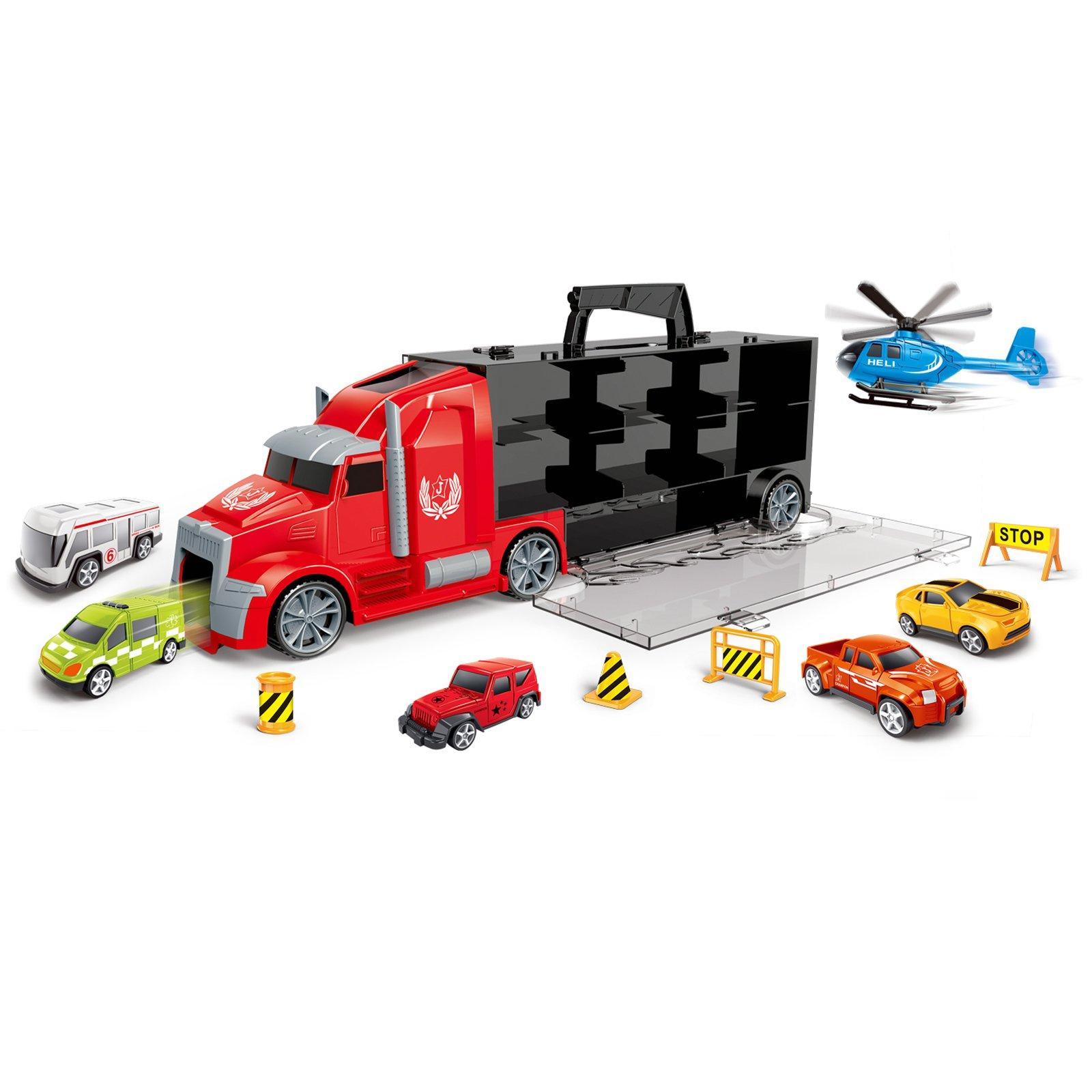 Kidplokio 1:64 Scale Diecast Hot Rod Car Carrier for Toy Race Cars, Boys Ages 3-8