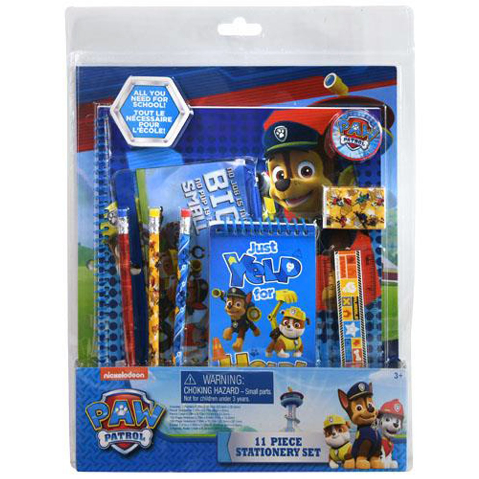 Nickelodeon Paw Patrol Kids Stationery Set Folders Pencils Notepad Eraser 11pc