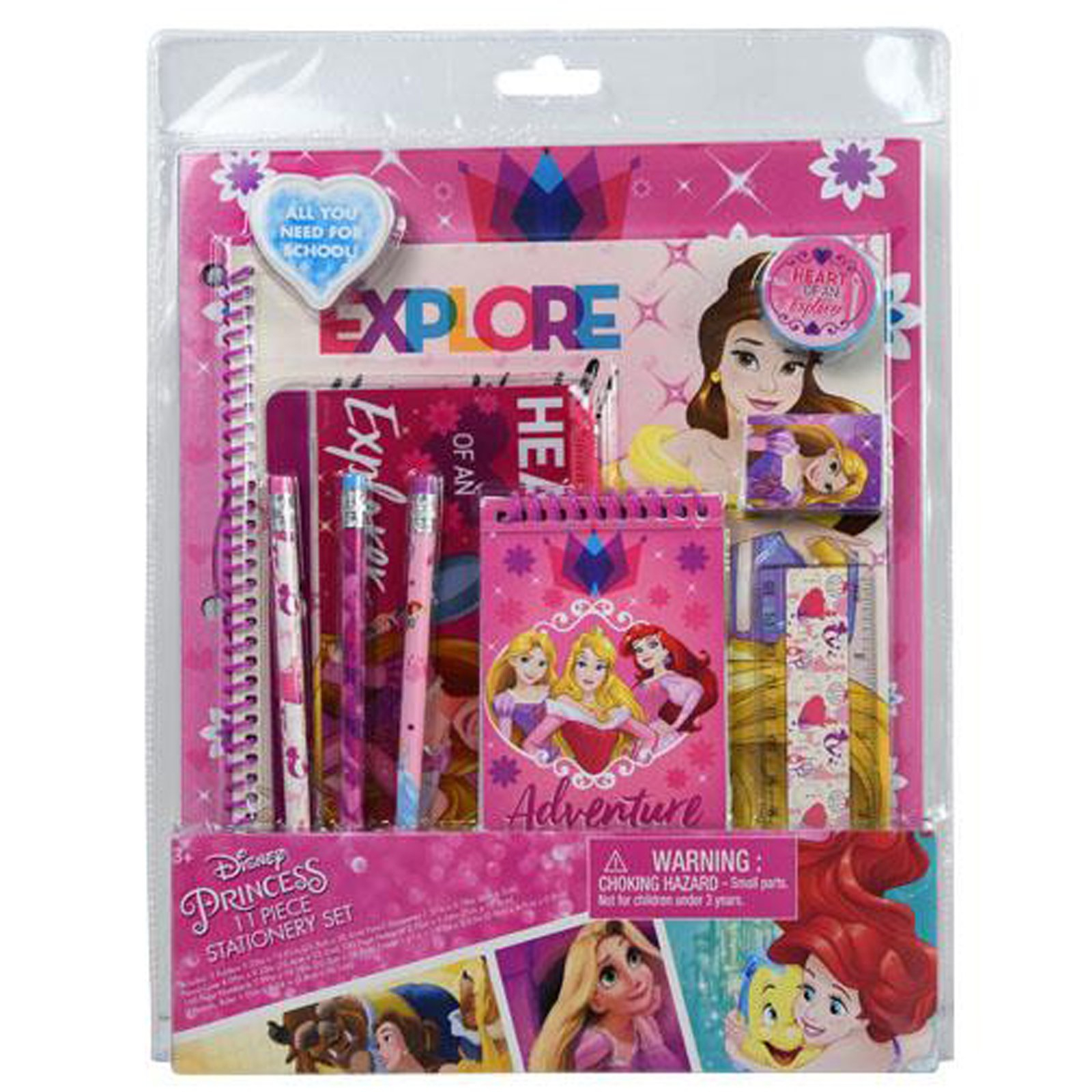 Disney Princess Girls Stationery Set Folders Pencils Notepad Eraser 11 Pieces