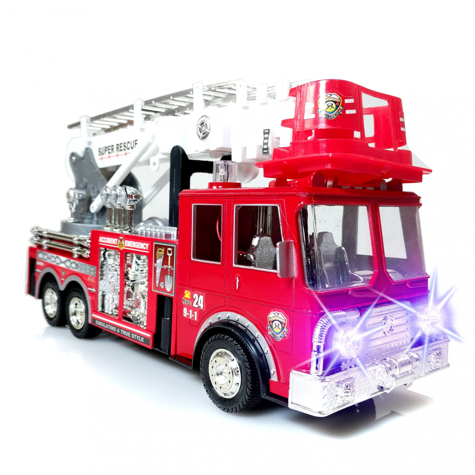 TychoTyke Fire Truck Toy with Extendable Ladder, Light-Up