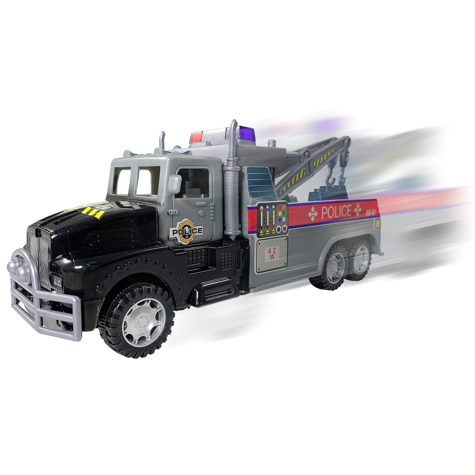 Friction Powered Police Towing Driving Truck Black