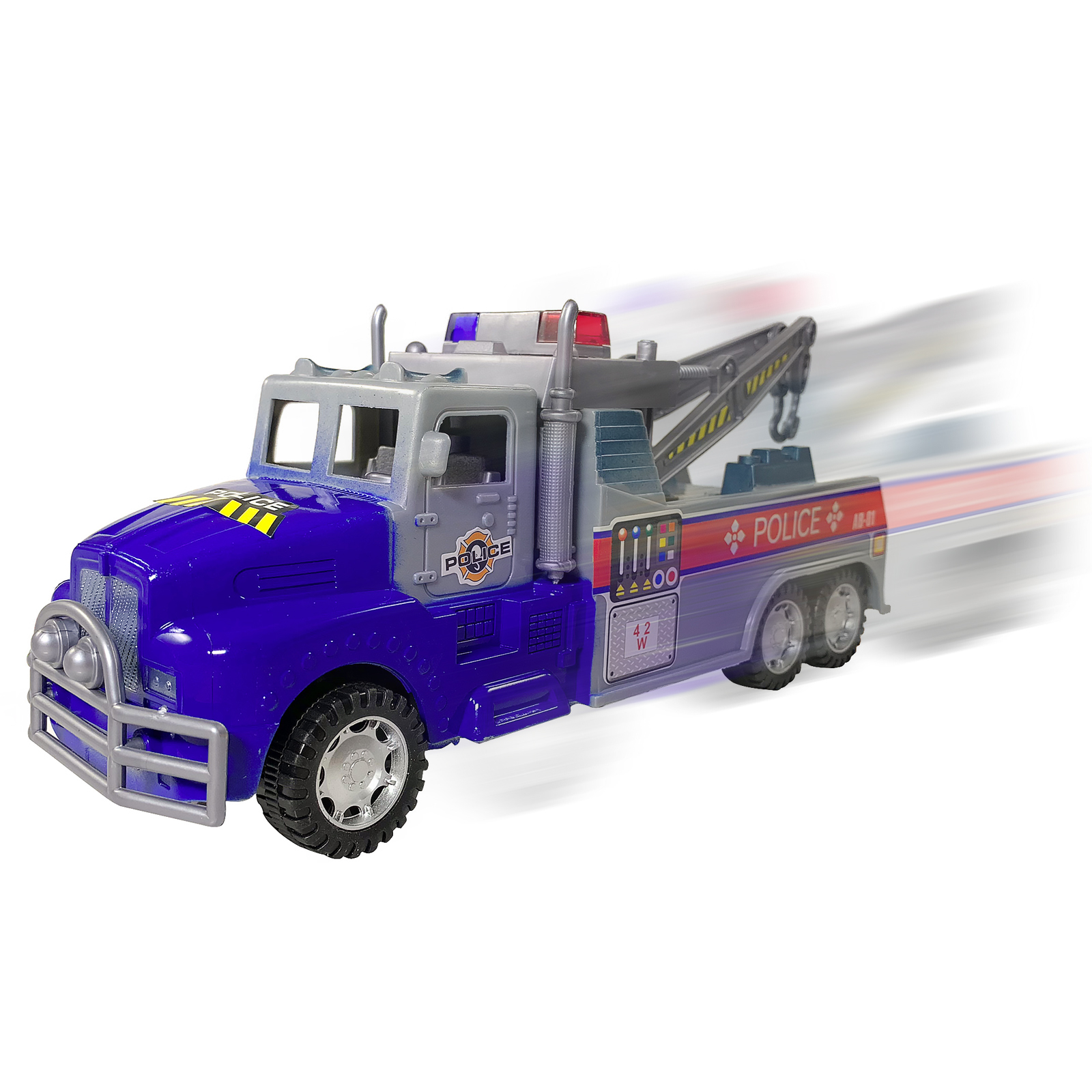 Friction Powered Police Towing Driving Truck Blue