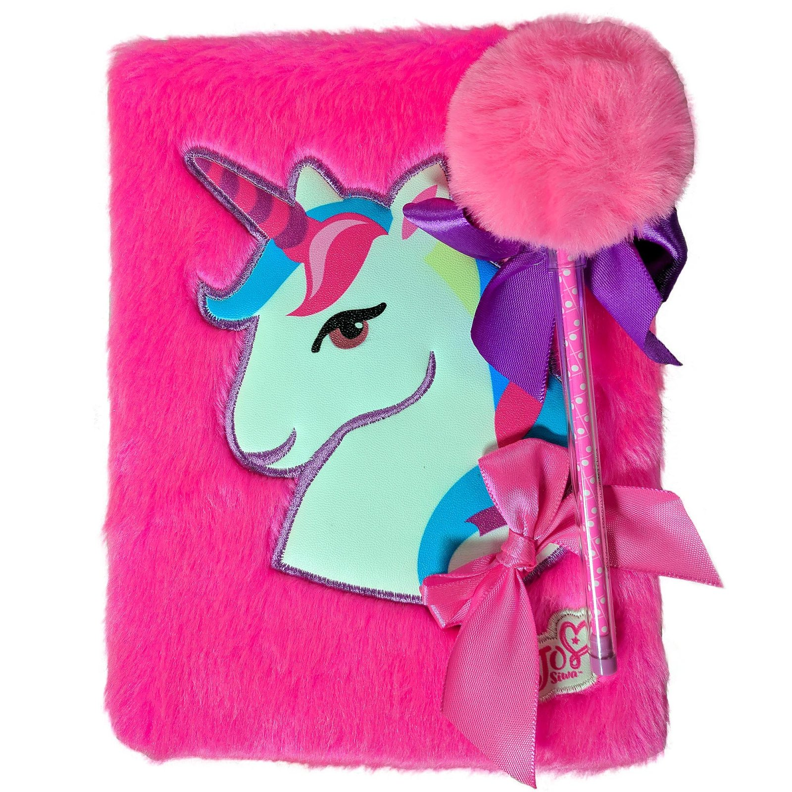 JoJo Siwa Girls Fuzzy Unicorn Journal Diary Notebook with Pom Pom Bow Pen Pink