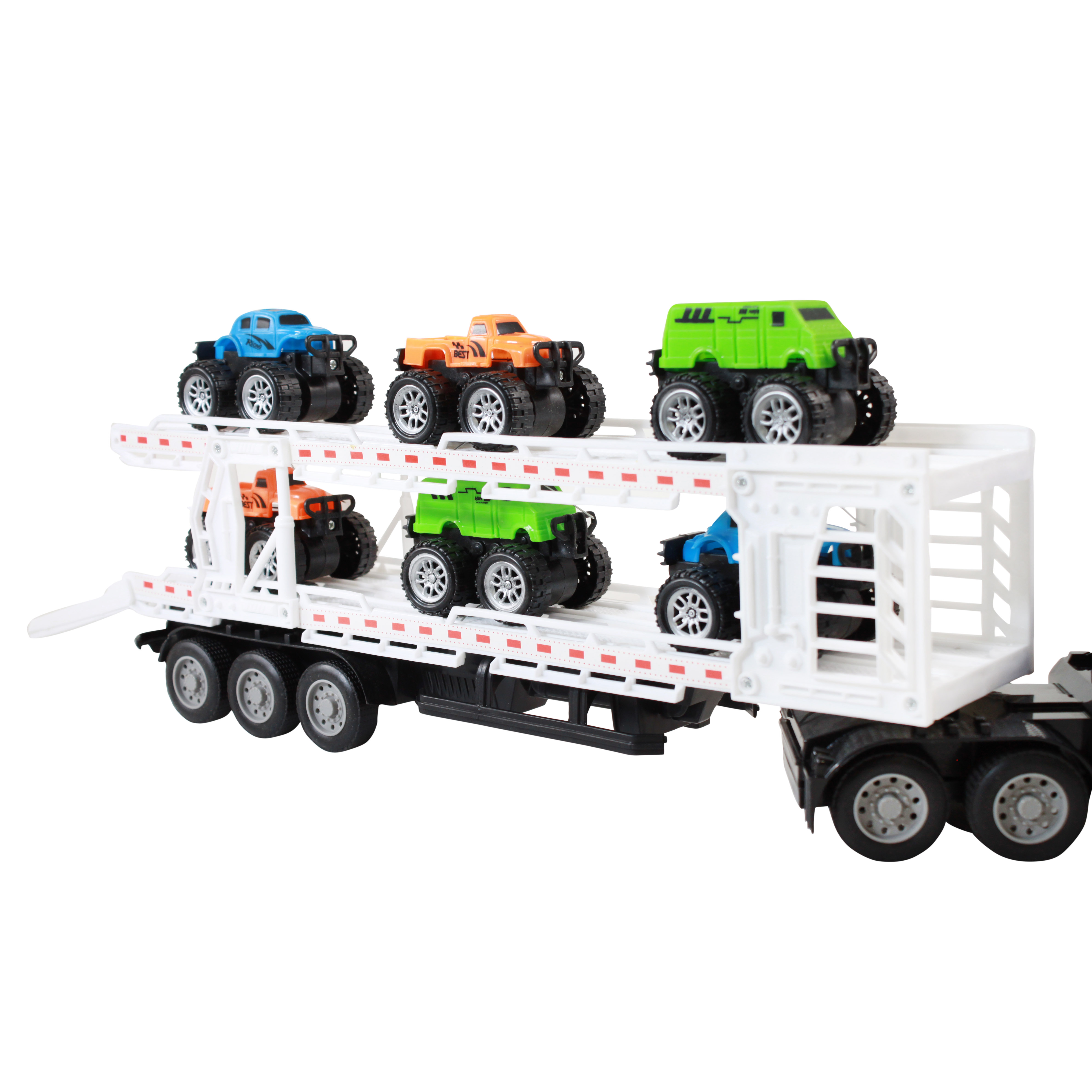 TychoTyke Remote Control Truck Car Hauler Trailer Set 8 Pc