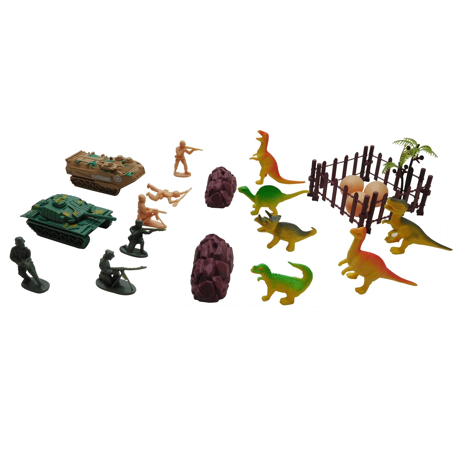 21pc Battle Dinosaur vs Army Men Combat Action Figure Kids Toy Play Set