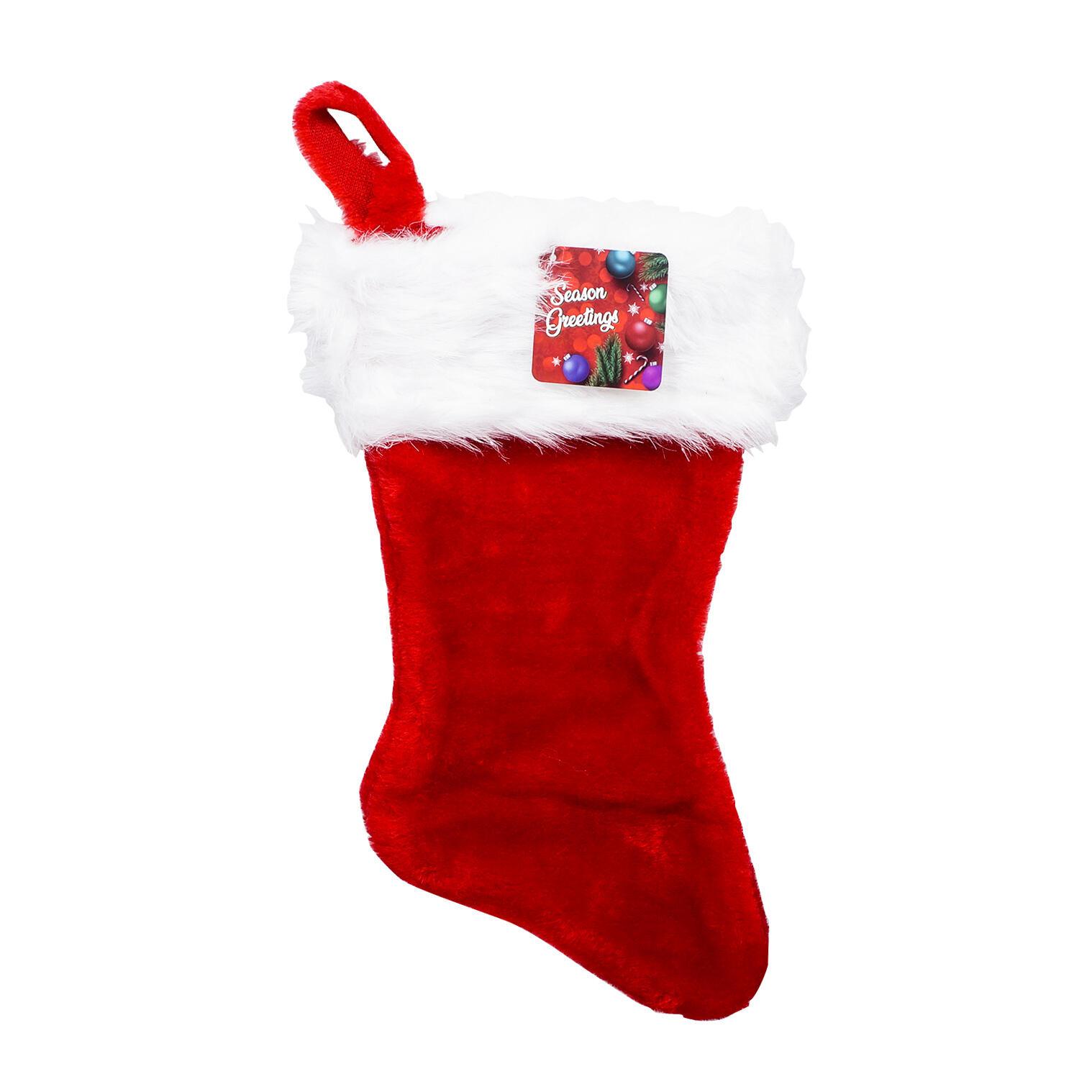 Kidplokio Kids Red Jumbo Holiday Stocking with Plush Faux