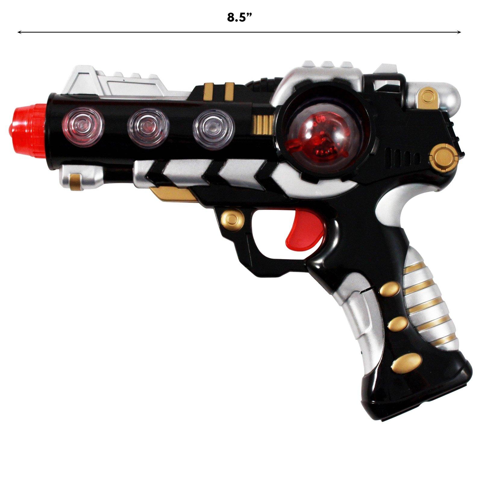 Intergalactic Superhero Laser Space Gun with Alternating Lights Sound - Black