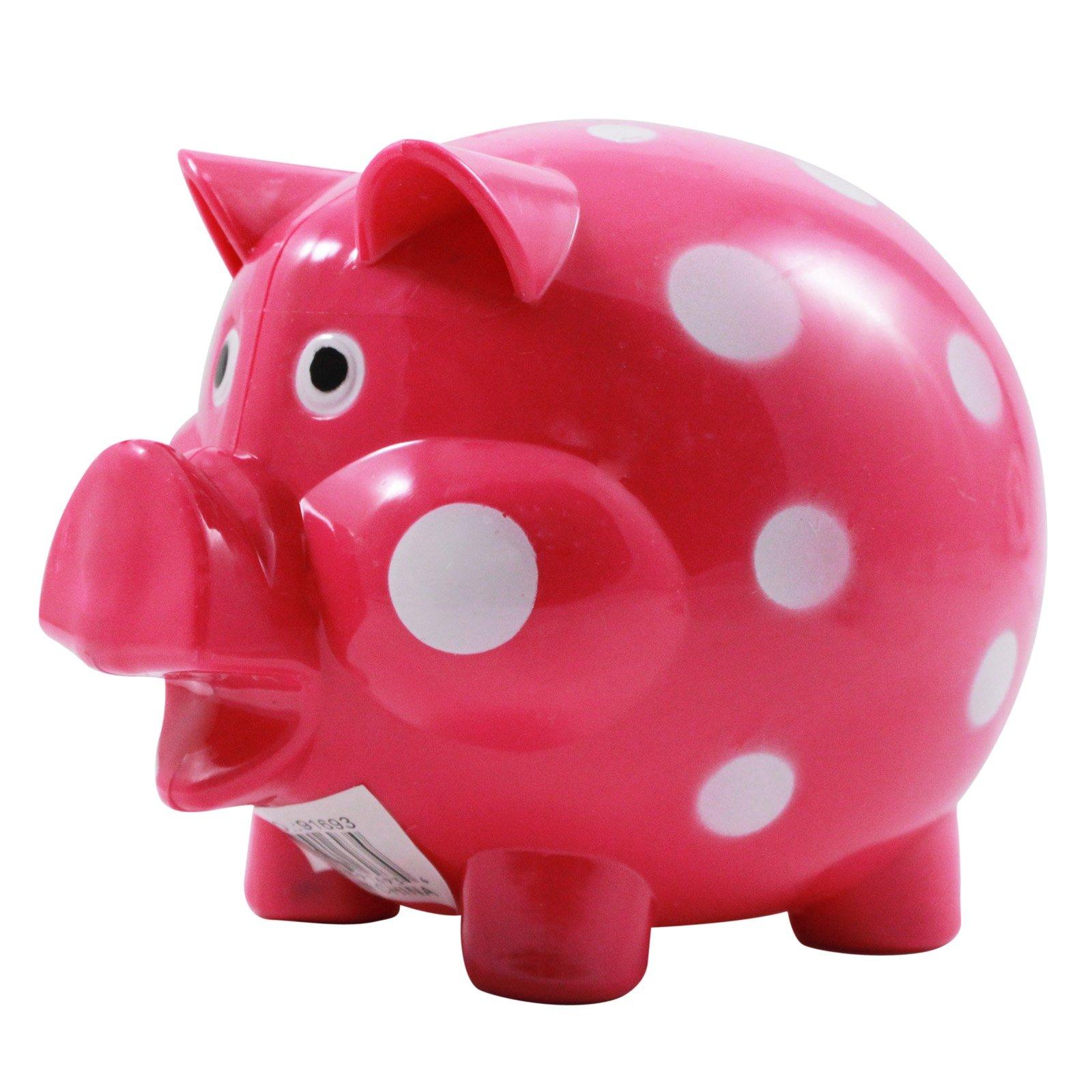 Pink and White Polka Dot Kids Coin Saving Piggy Bank