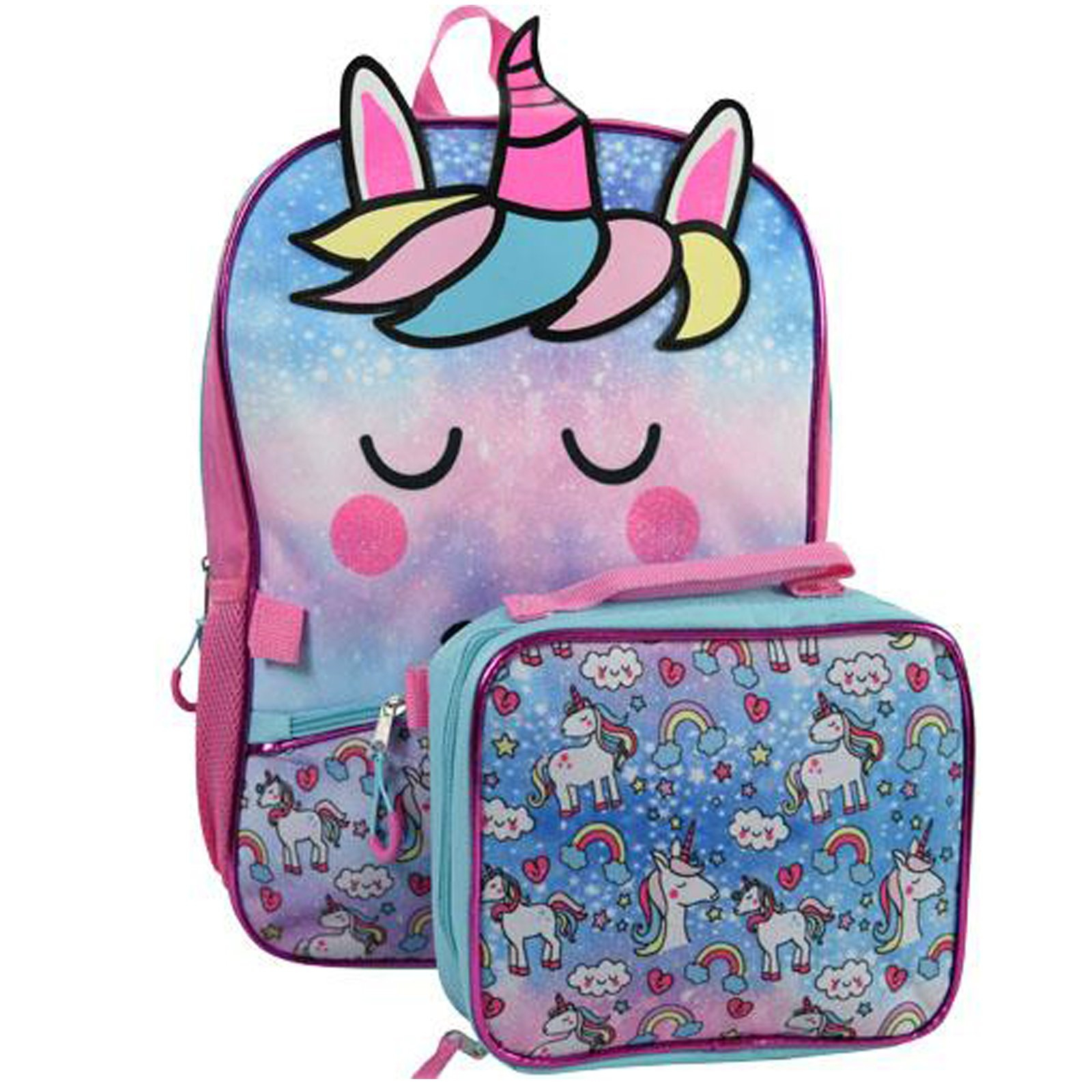 TychoTykes Unicorn Kids School Backpack with Lunch Bag Set Girls Travel Tote