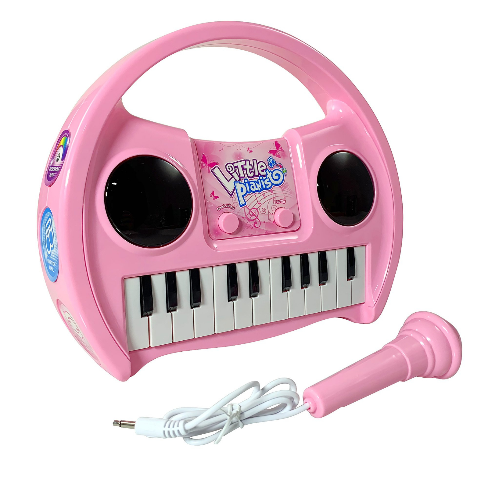KidPlay Products Little Pianist Singing Musical Karaoke Keyboard Lights Up Pink