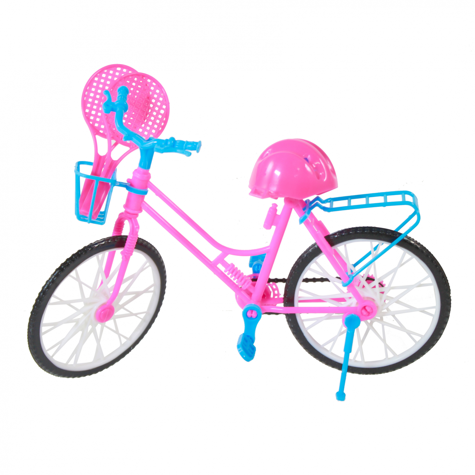 Blonde Doll Playset With Pink Blue Bike and Sports Equipment