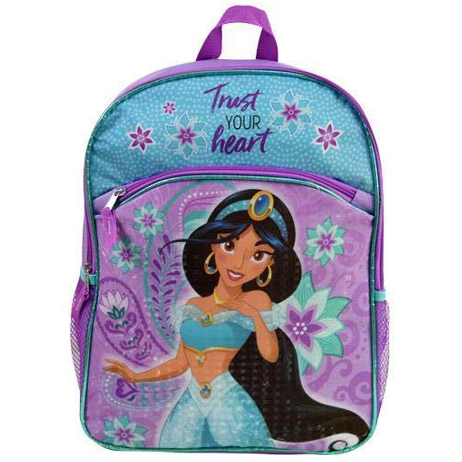 Disney Aladdin Princess Jasmine Girls School Backpack Mesh Pockets Travel Bag