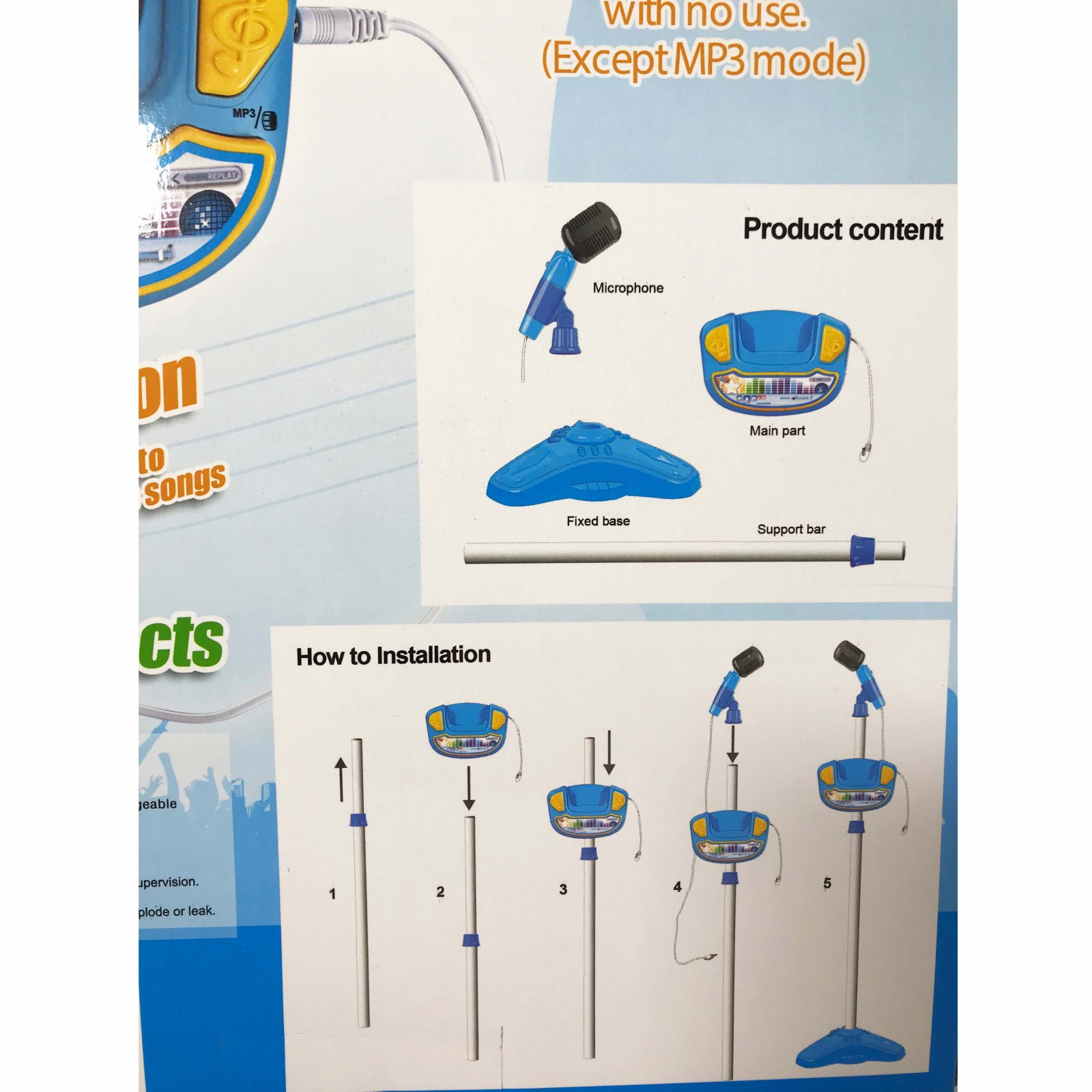 Kids Play Time Musical Microphone Karaoke Machine MP3 Singing With Stand - Blue