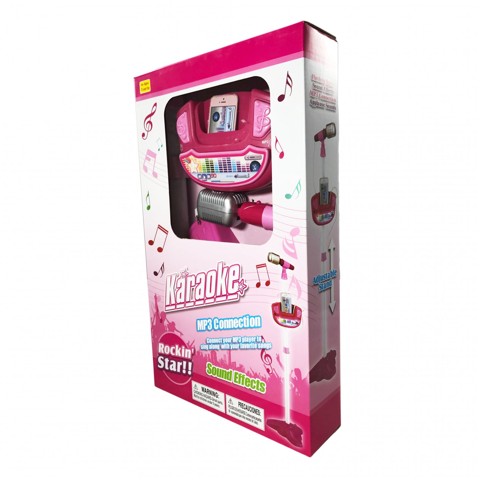 Kids Play Time Musical Microphone Karaoke Machine MP3 Singing With Stand - Pink