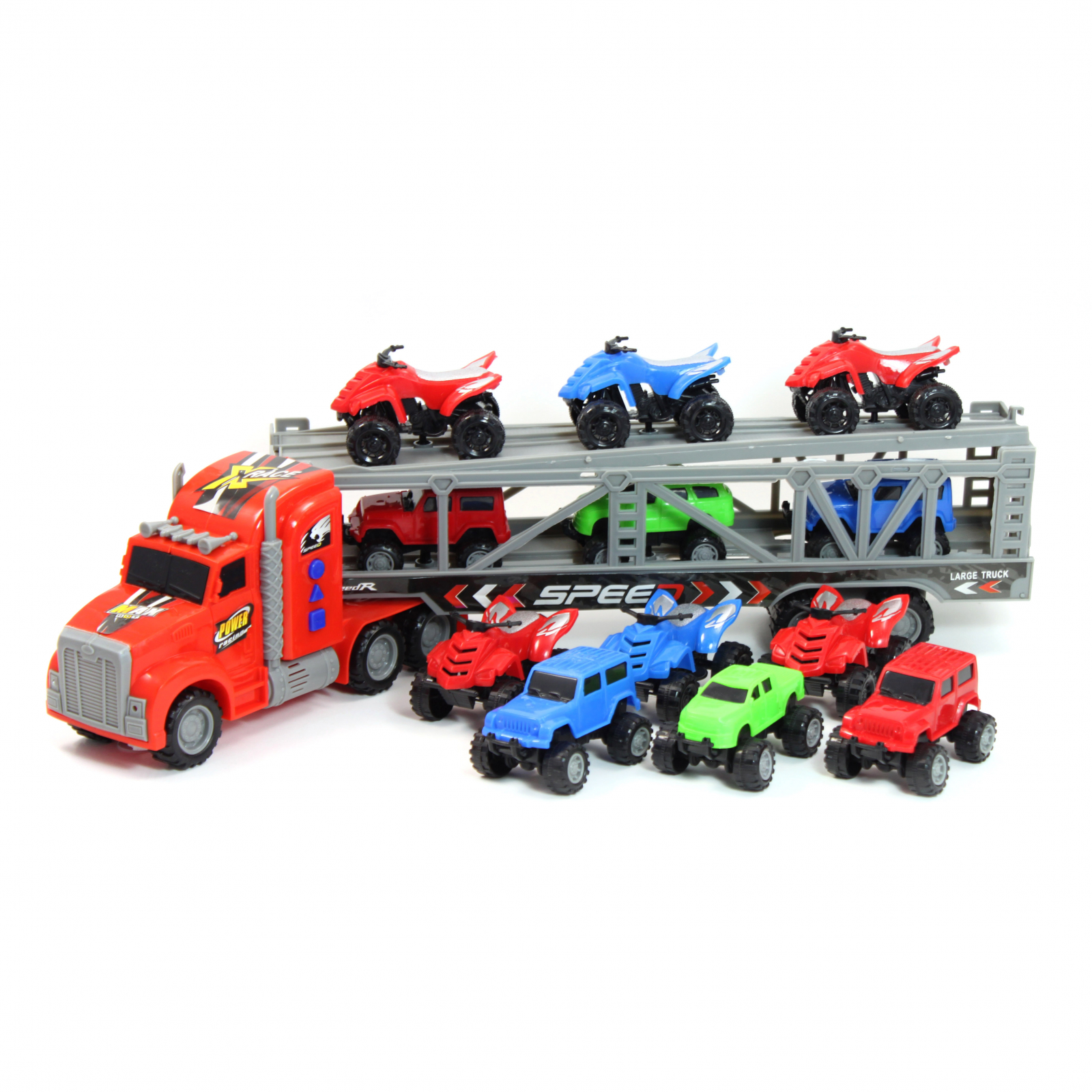 Toy Truck Diecast ATV Semi Truck Transporter Carrier Friction Power Vehicle