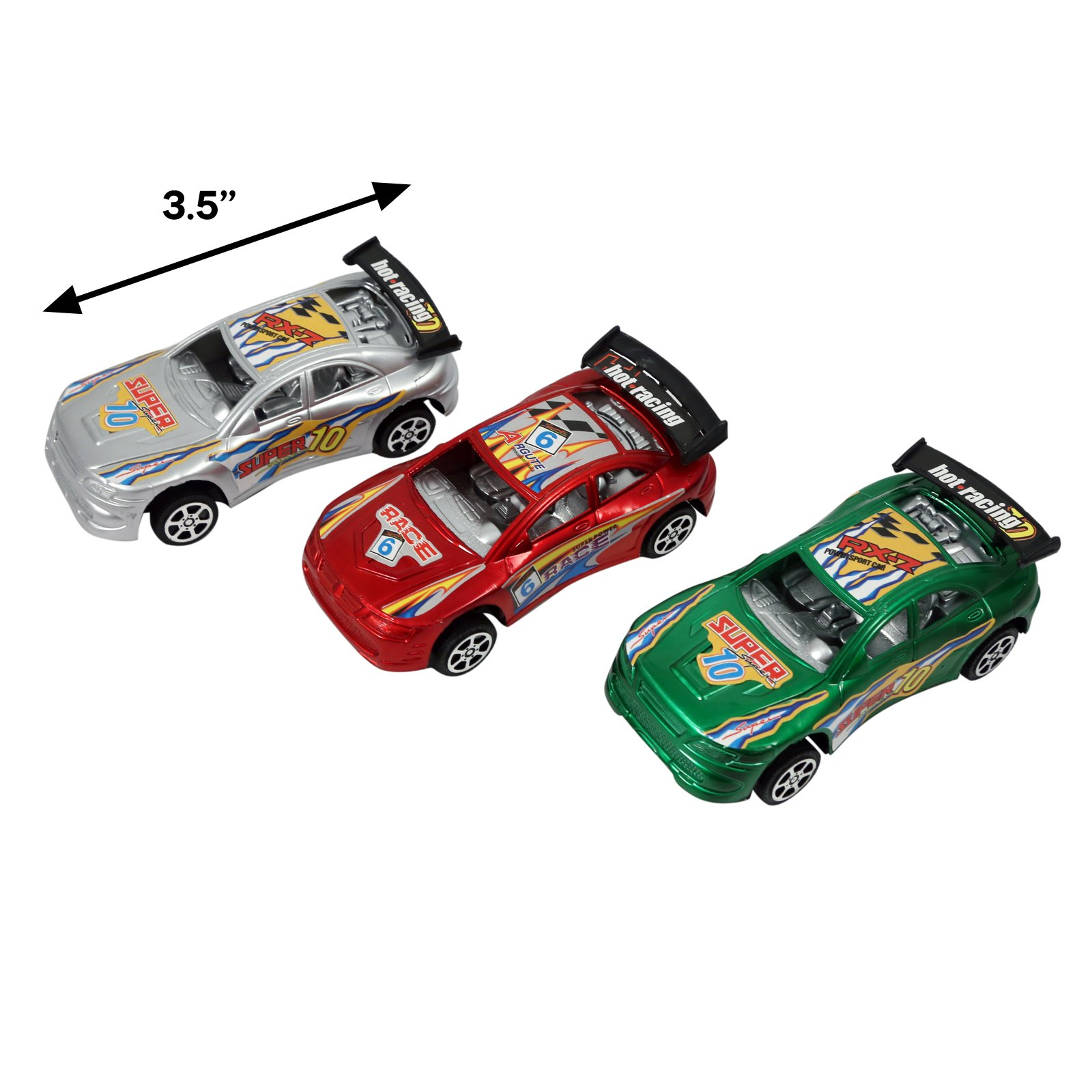 KidPlay Friction Powered Super Race Car Set Kids Toy Vehicles - 3 Pack