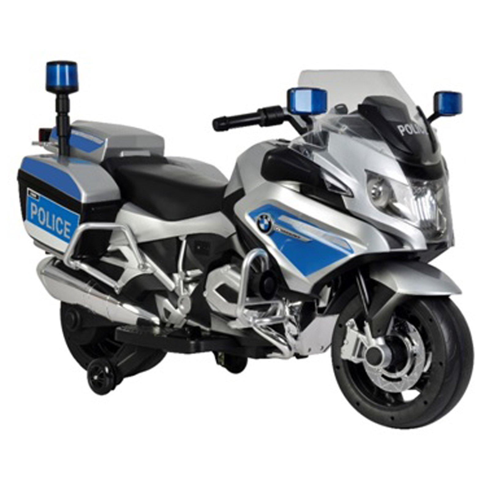 KidPlay Products Kids BMW Police Bike Ride On Motorcycle 12V Battery - Silver
