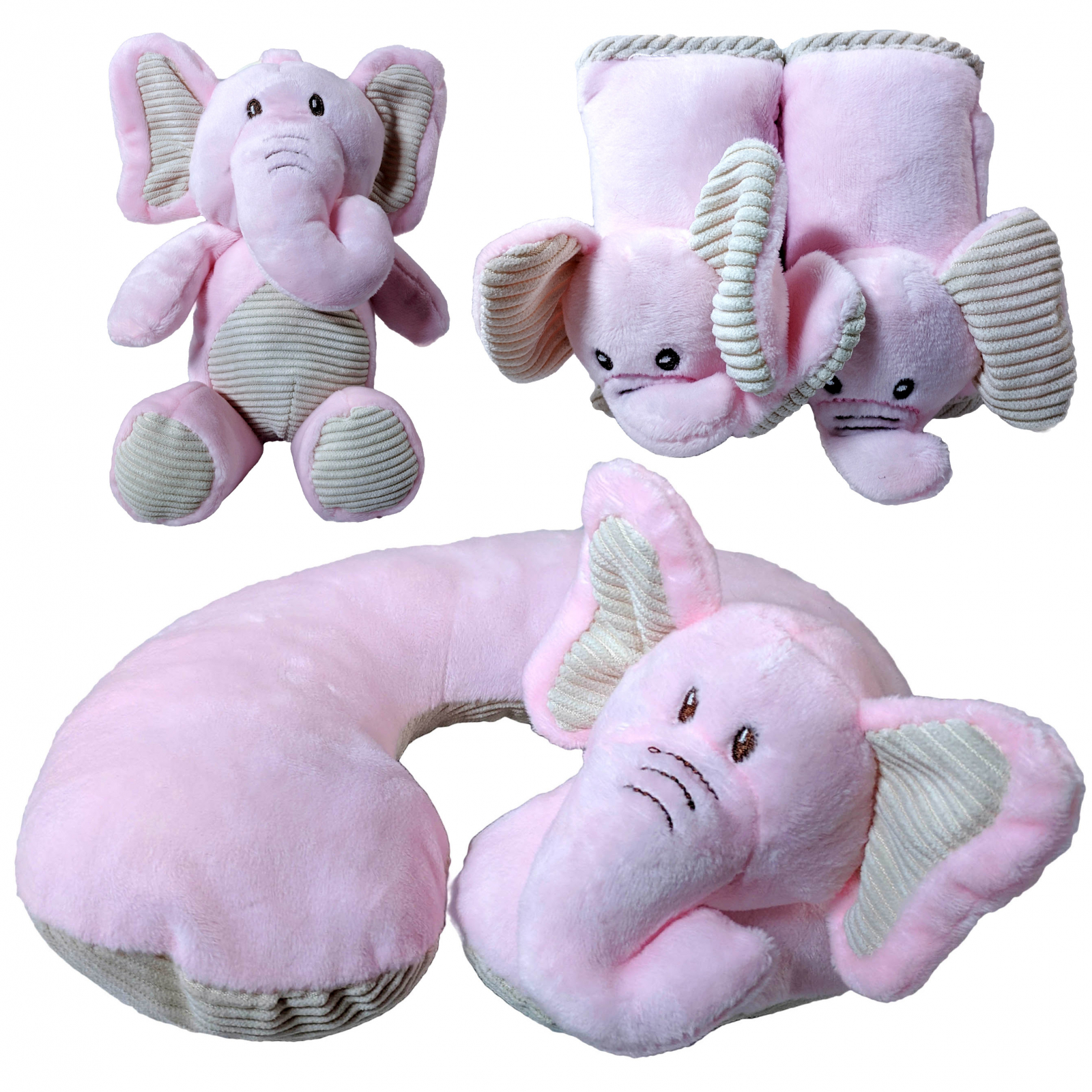 Kellybaby Pink Elephant Soft Plush Baby Travel Bundle