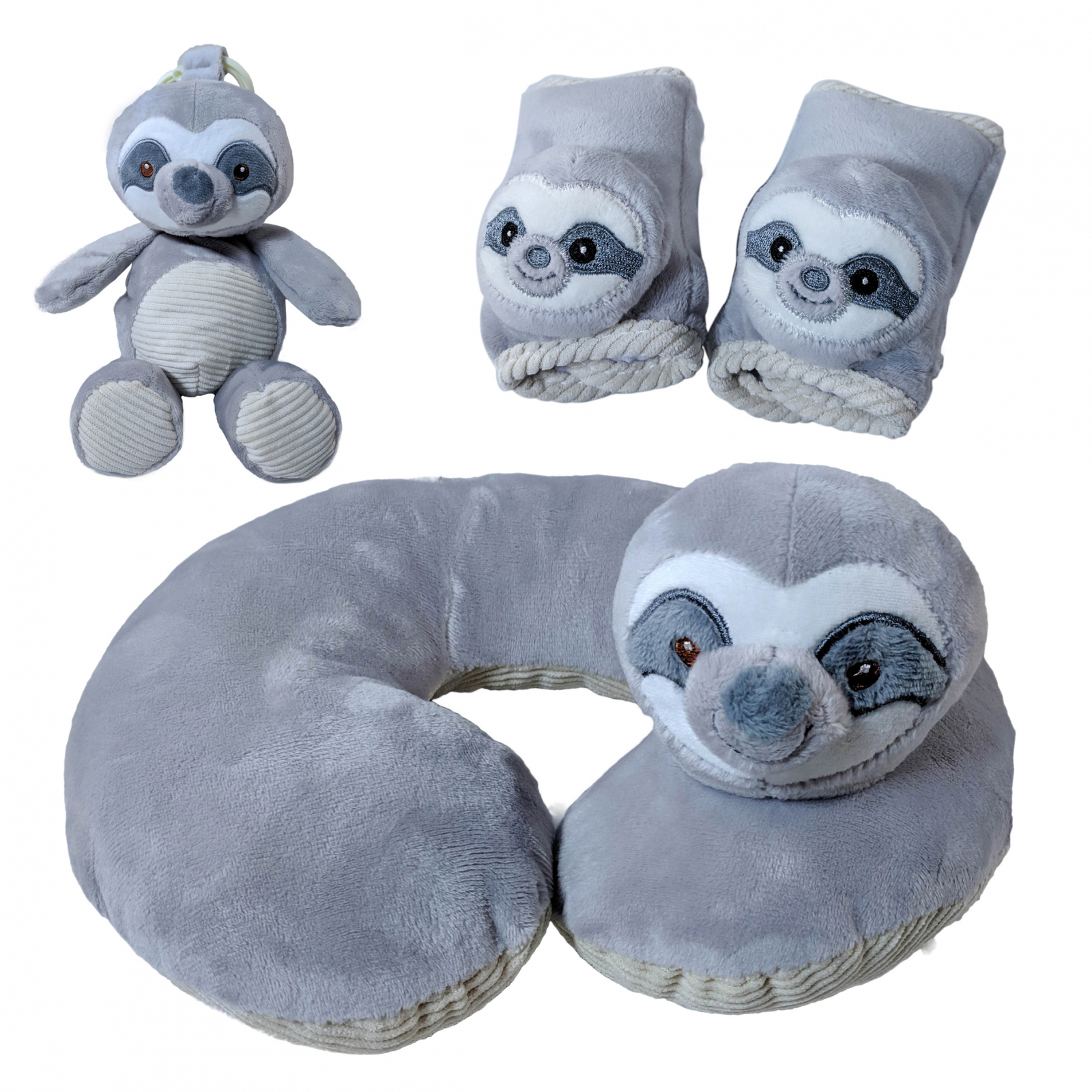 Kellybaby Grey Sloth Soft Plush Baby Travel Bundle