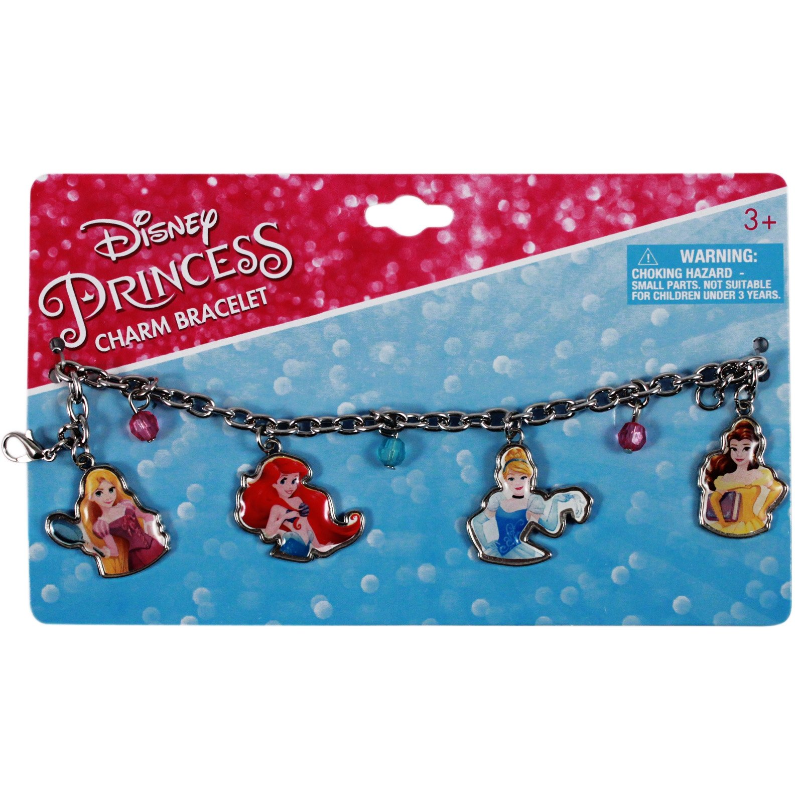 disney princess cinderella belle ariel aurora pretend play dress up jewelry charm bracelet with colorful and shiny beads retail packaging