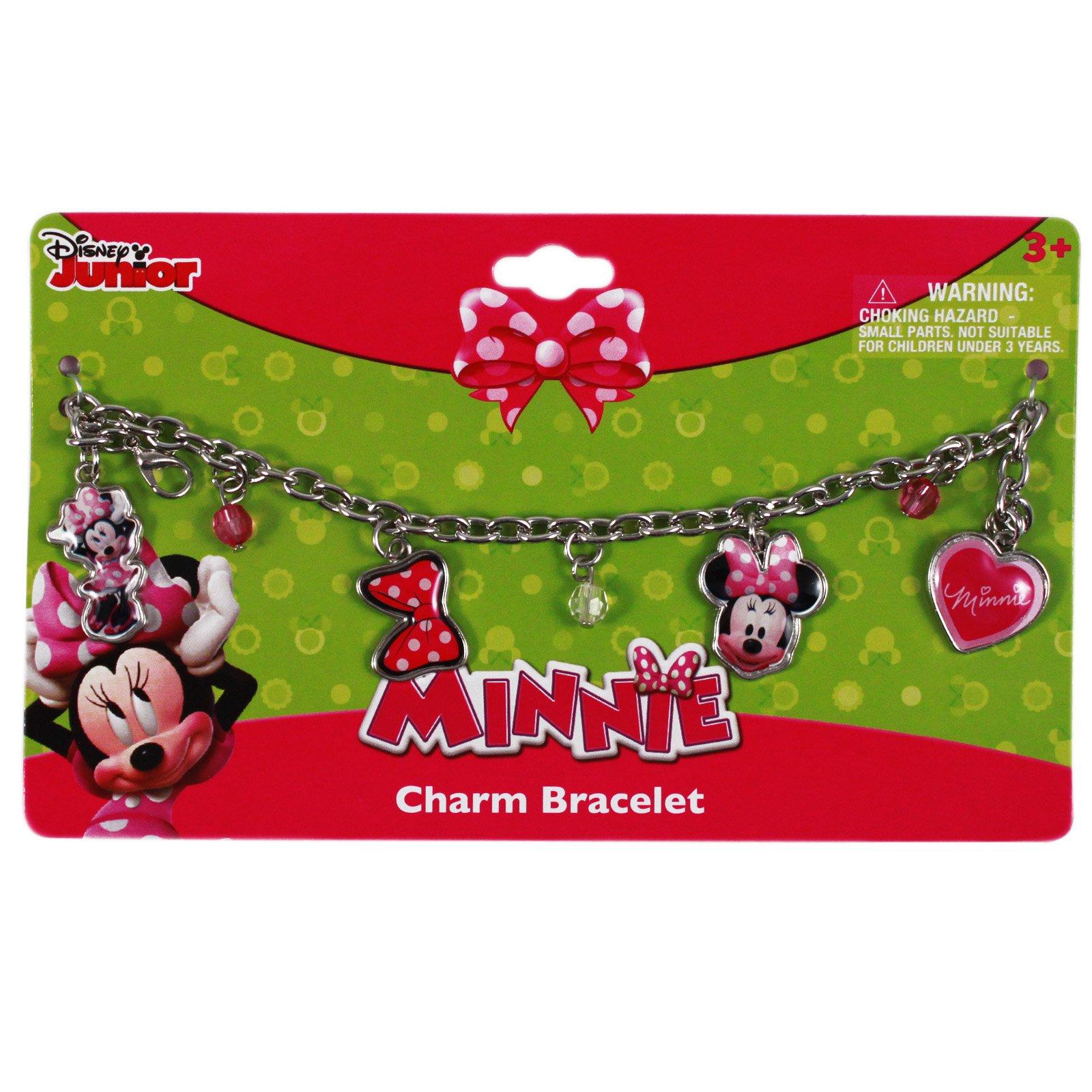 Disney Minnie Mouse Charm Bracelet Girls Dress Up Jewelry 4pc Gift Set