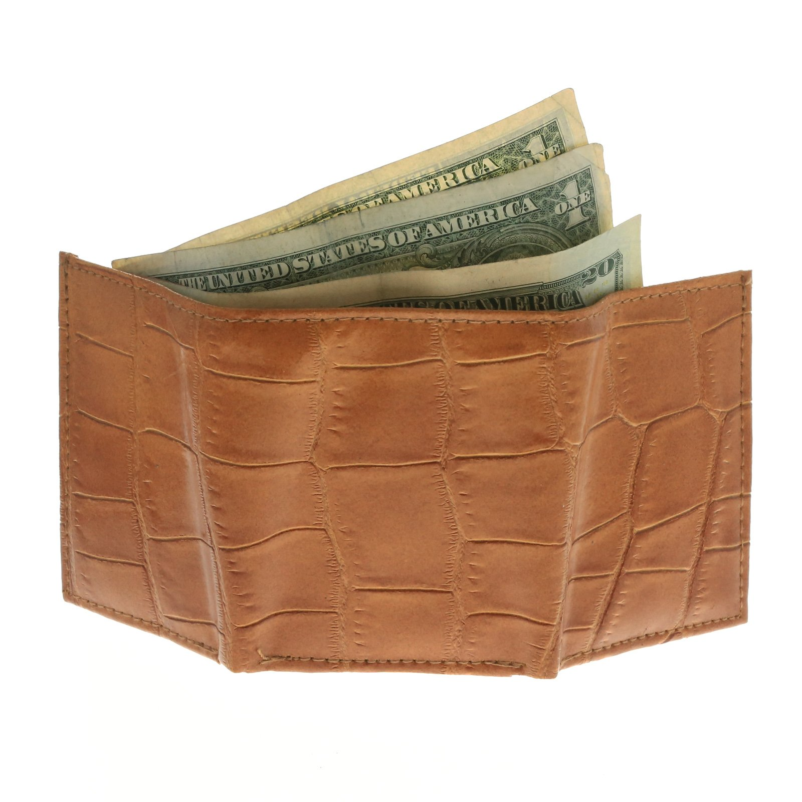 Brandon Dallas Spacious Tri-fold Tan Wallet Hand Crafted with Genuine Leather