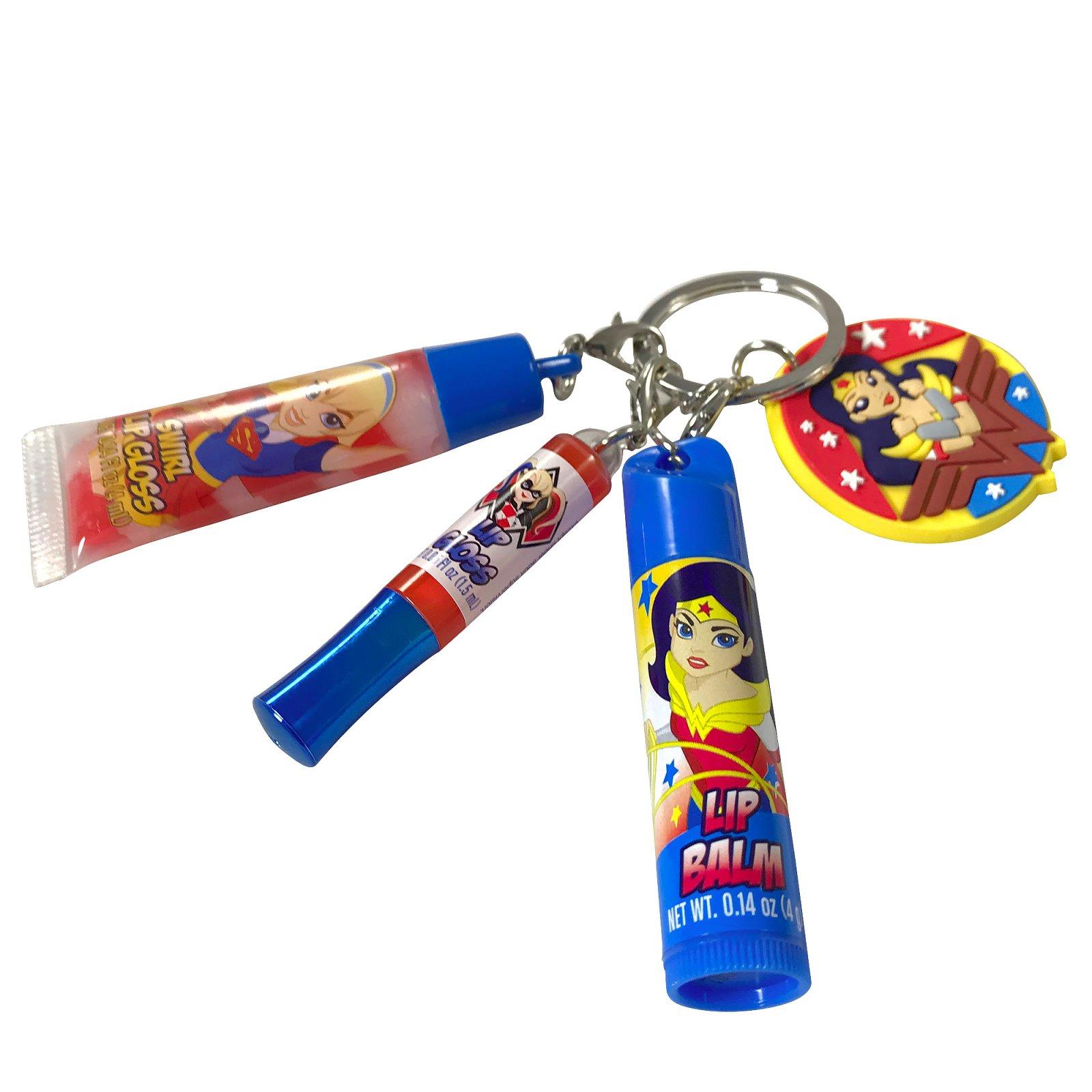 DC Super Hero Girls Wonder Woman Super Girl Harley Quinn Lip Gloss Key Chain