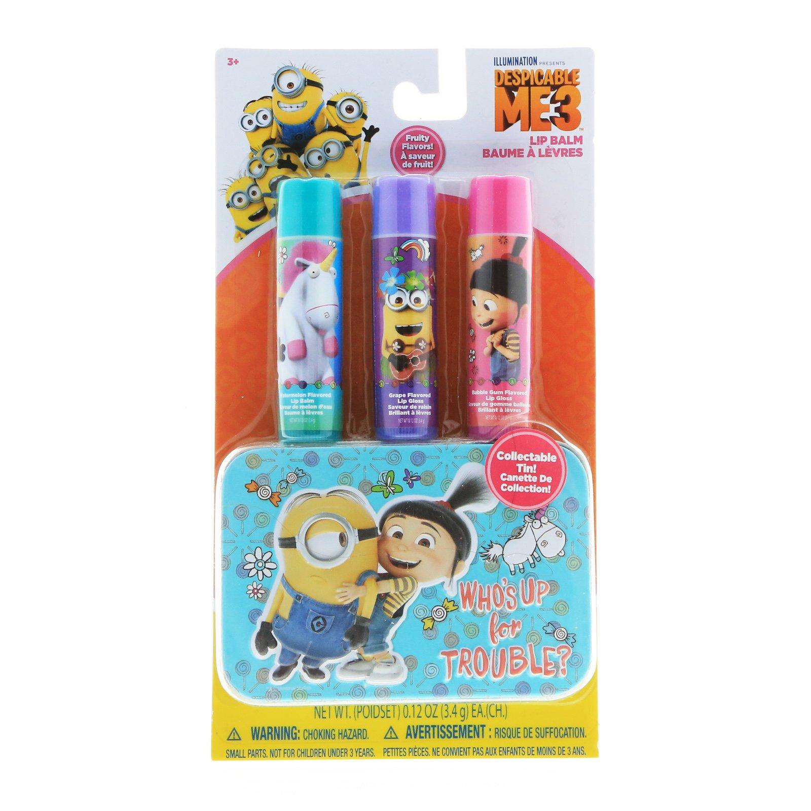 Despicable Me Minions Girls Lip Balm 3pk With Tin Carry Case