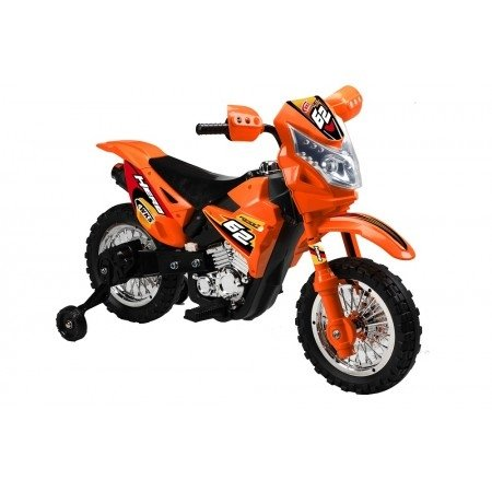Mini Dirt Bike Motorcycle with Headlight 6V Kids Battery Powered Ride On Car in Orange
