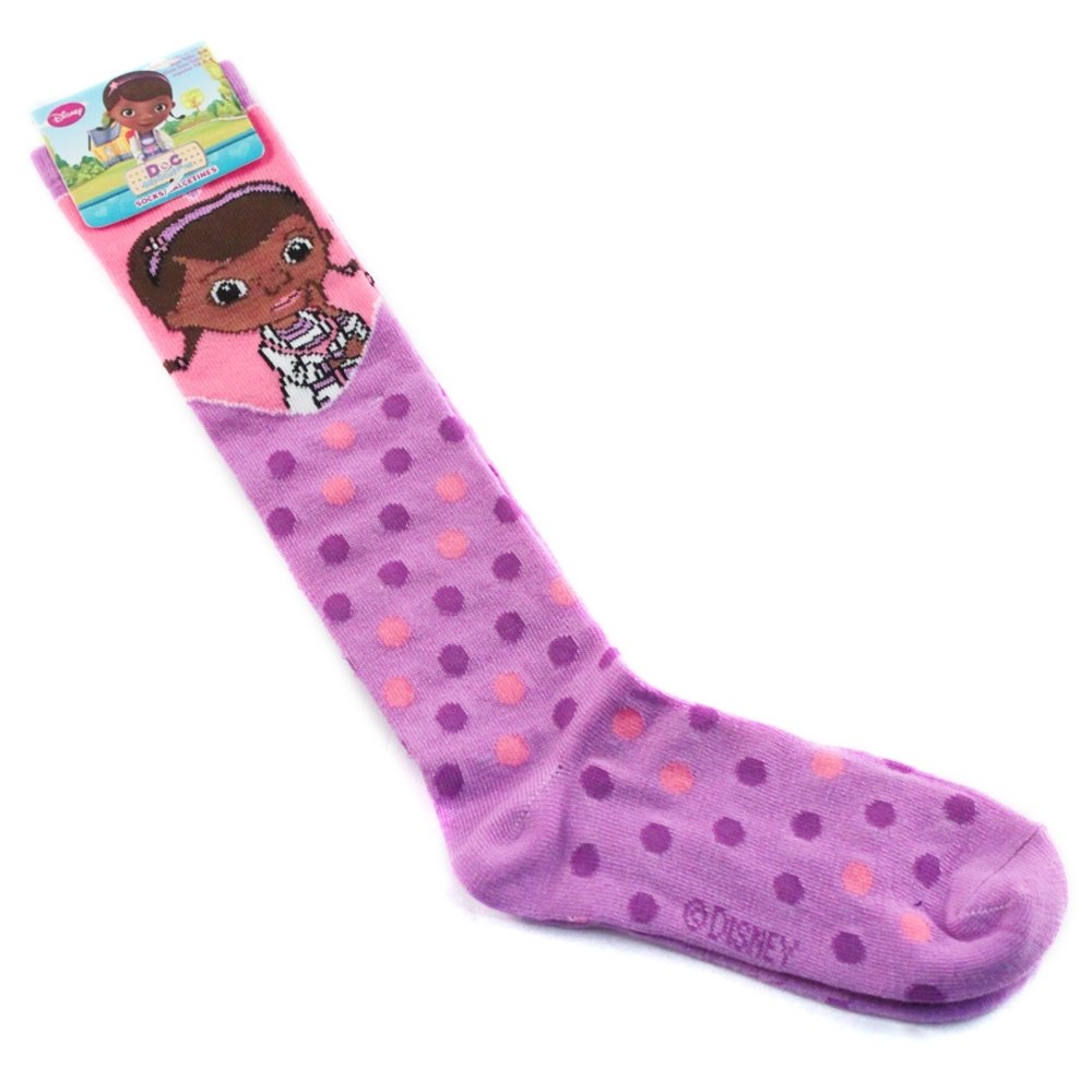 Doc McStuffins Purple Polka Dots Knee High Socks Size 6-8