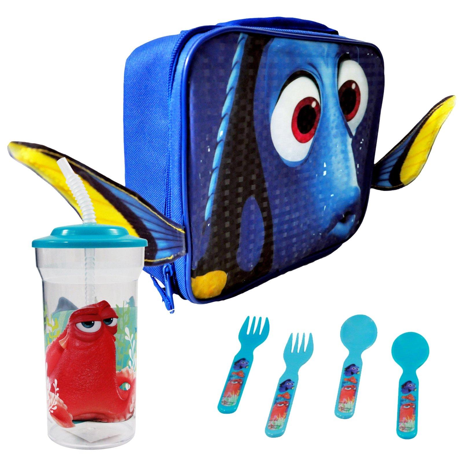 Disney Pixar Finding Dory Face Rectangle Lunch Bag Bundle with Utensils & Tumbler
