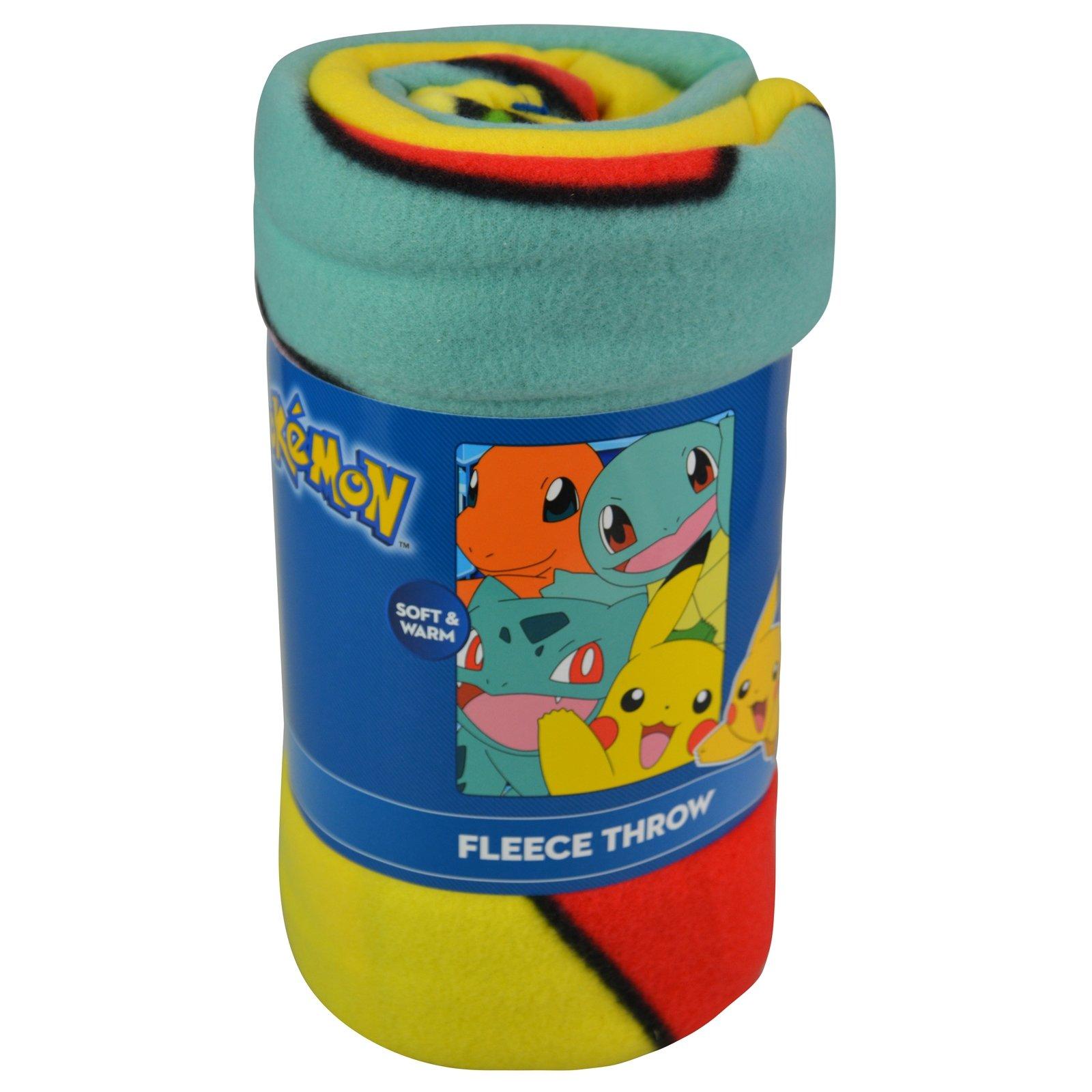 Pokemon Squirtle Charmander Bulbasaur Pikachu Kids Throw Blanket Fleece 45 x 60 inch