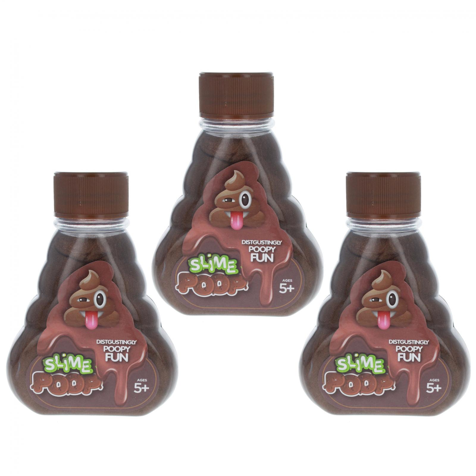 TychoTyke Kids Poop Emoji Fun Brown Slime In Bottle, 3-Pack