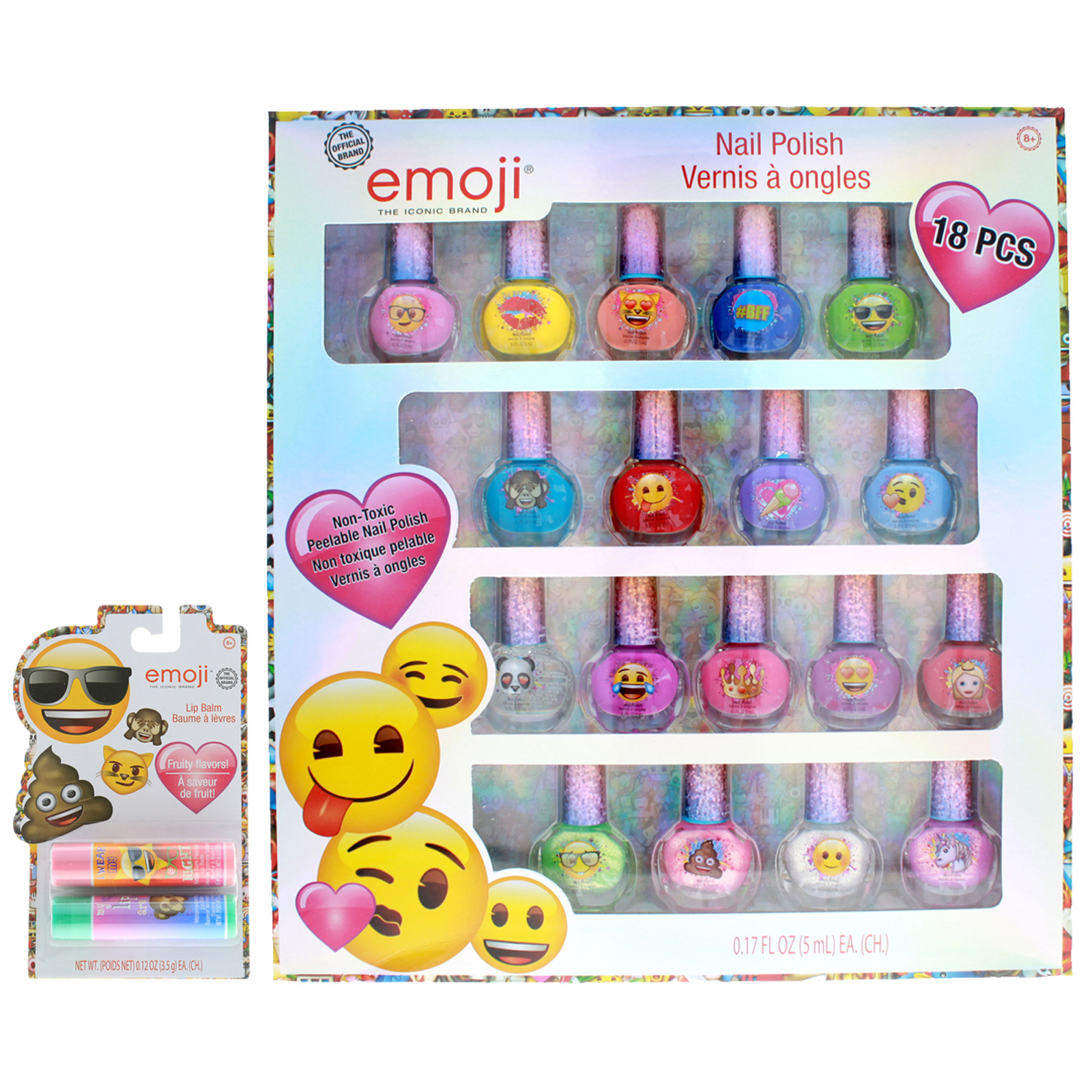 Emoji Girls Dress Up Makeup Gift Nail Polish Lip Balm 20pc