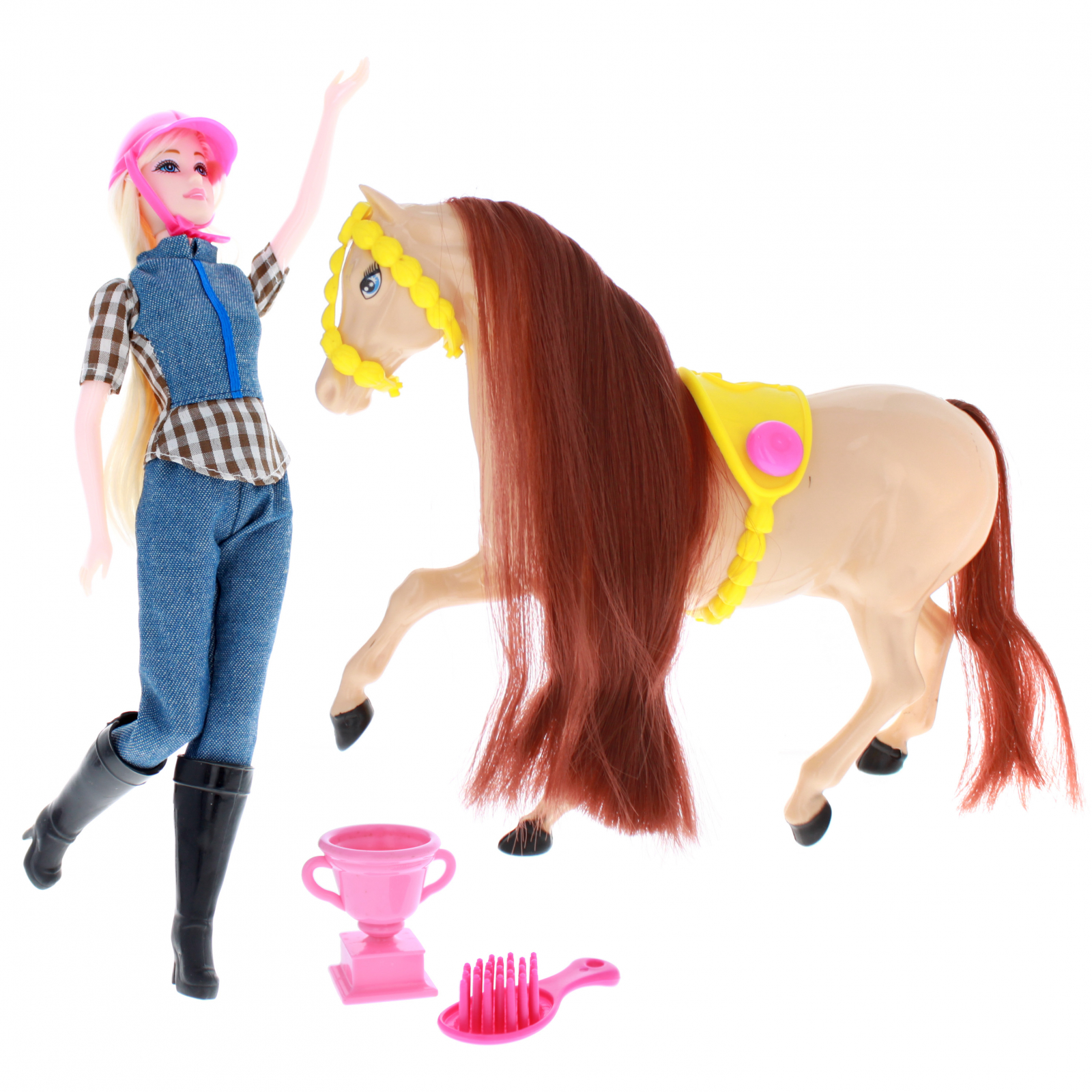 Blonde Doll and Brown Horse Show Play Set With Accessories