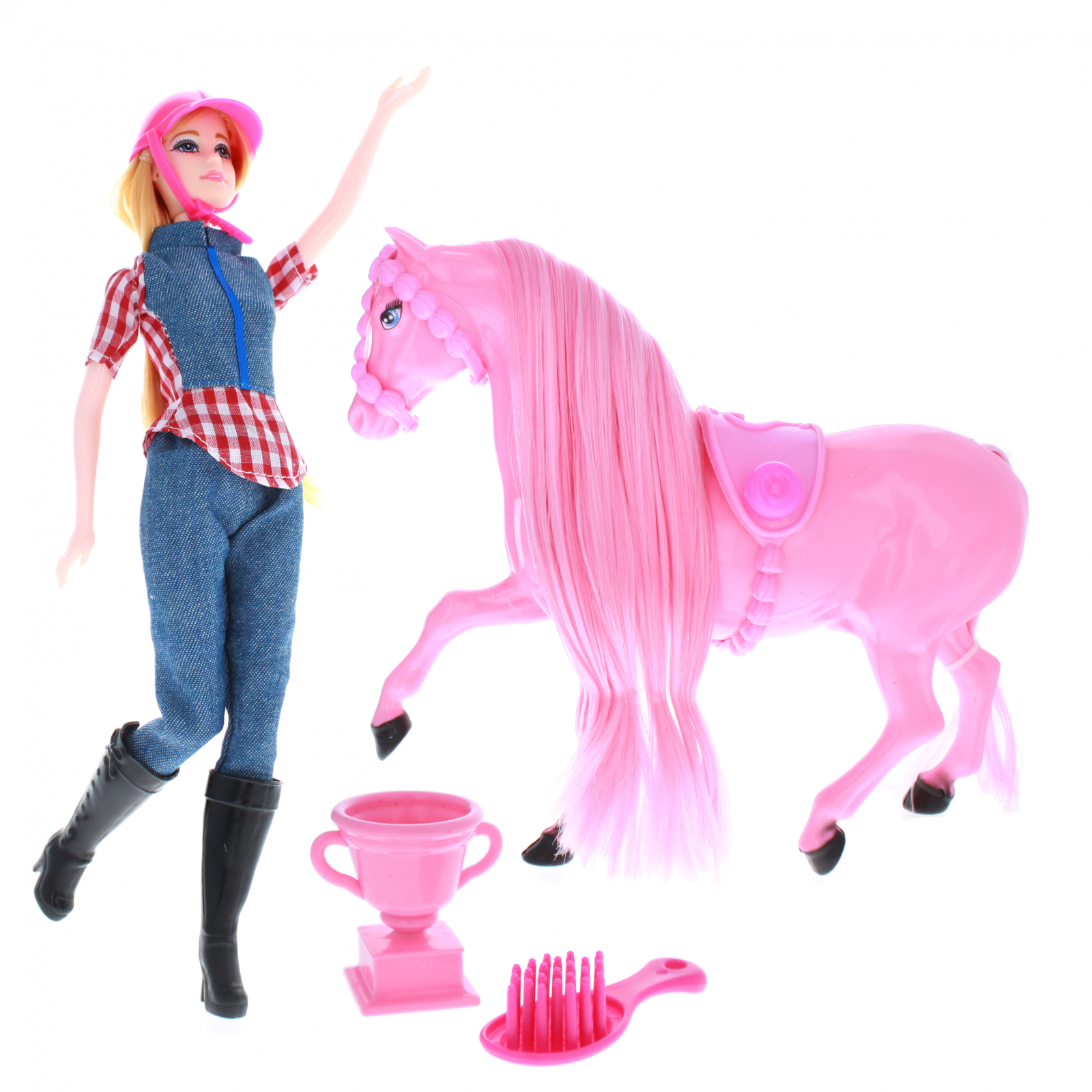 Blonde Doll and Pink Horse Show Play Set With Accessories