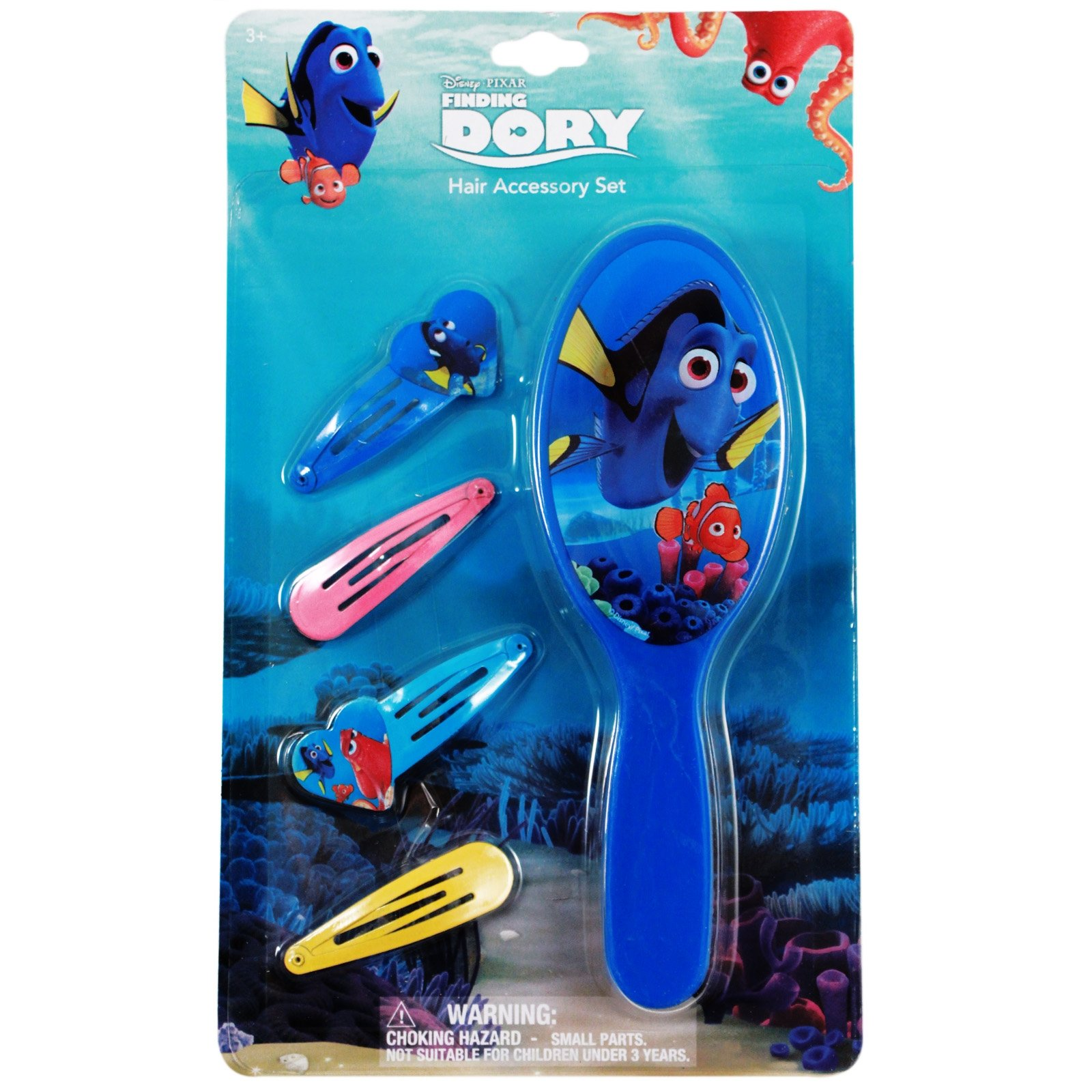 5pc Disney Pixar Finding Dory Hair Brush & Snaps Hair Clips Retail Packaging