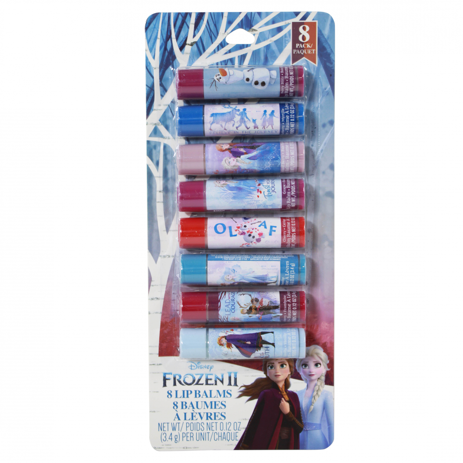 Frozen 2 Lip Balm 8 Pack With Assorted Colors And Flavors