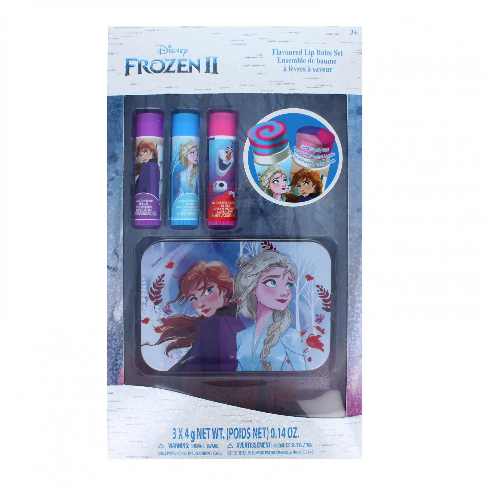 Disney Frozen 3 Pack Flavored Lip Balm Set with Metal Tin