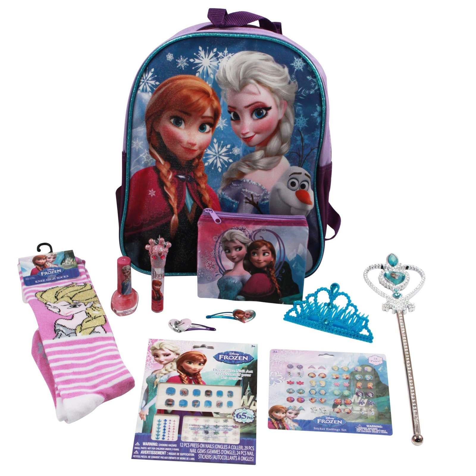 Disney Frozen Girls Halloween Costume Set Backpack Wand Tiara Earrings Nails Socks