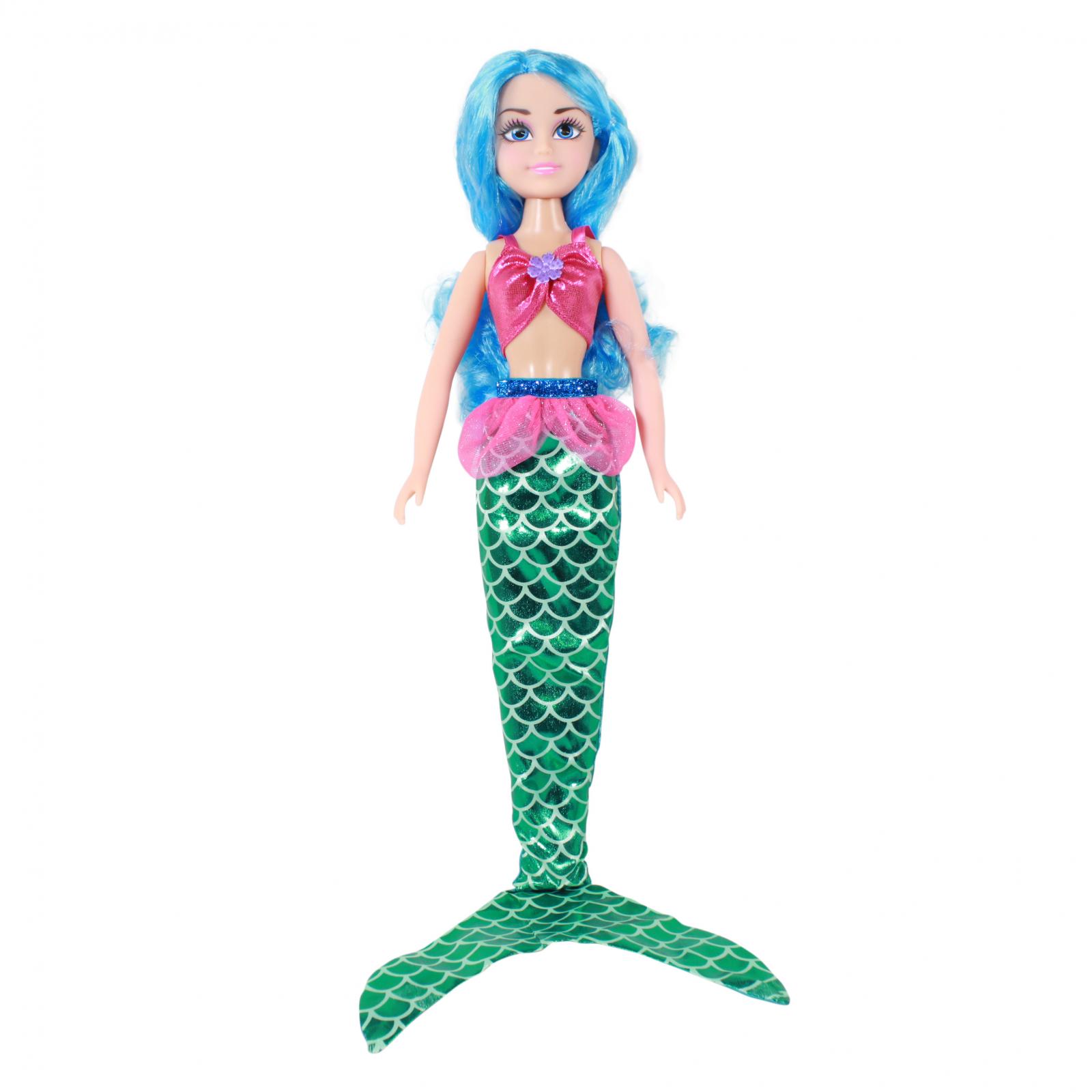 TychoTyke Girls Mermaid Princess Doll Blue Hair 7 Piece Gift