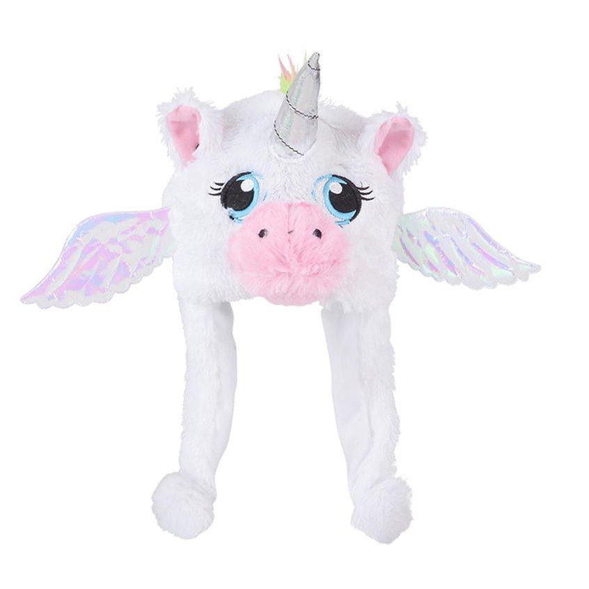 TychoTyke Kids Unicorn Plush Hat with Sparkle Ears - White
