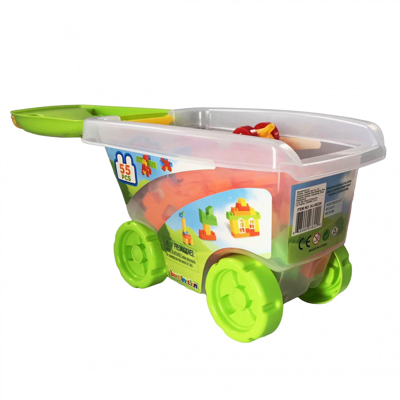 55 Piece Educational Blocks Cart Play Set - Green