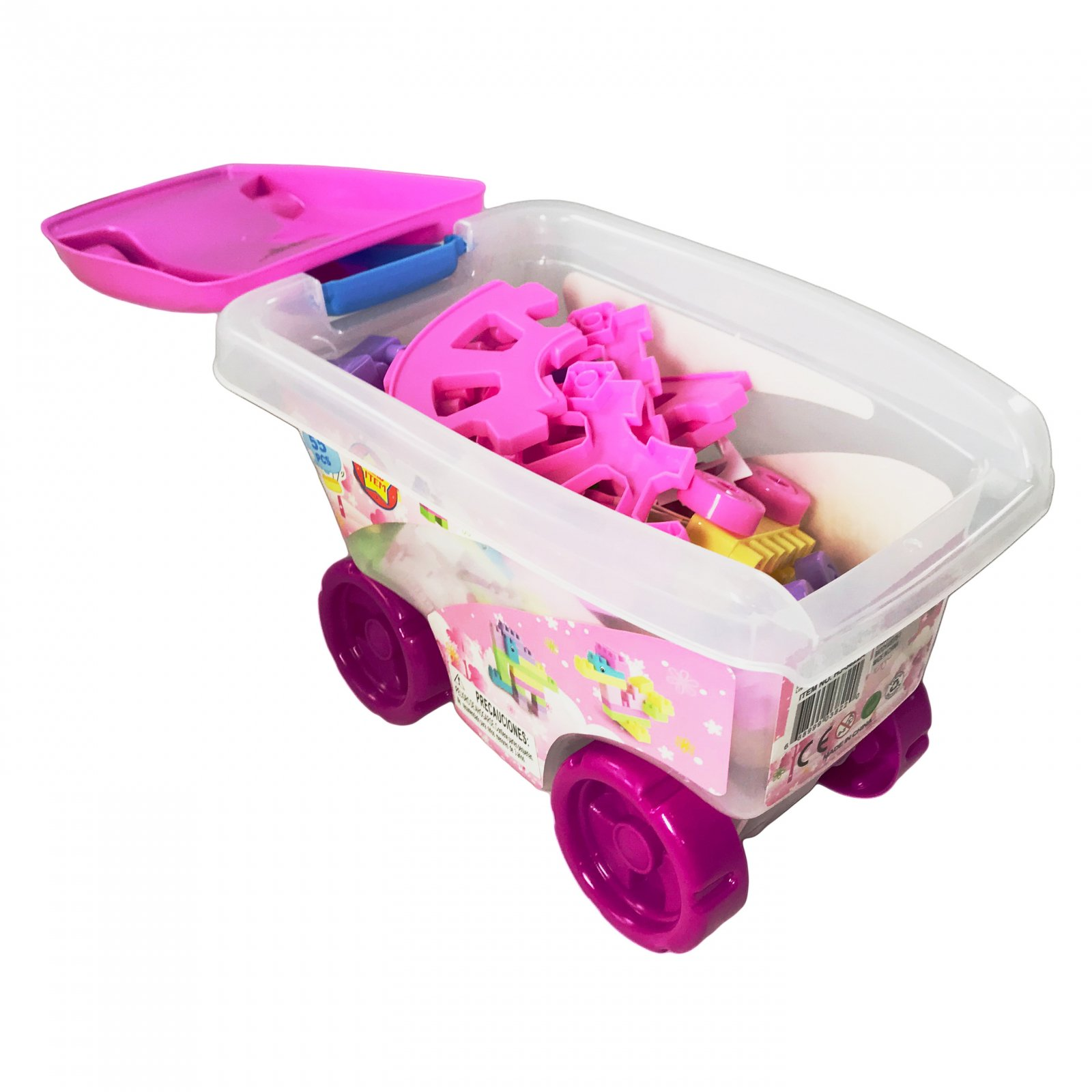 55 Piece Educational Blocks Cart Play Set - Pink