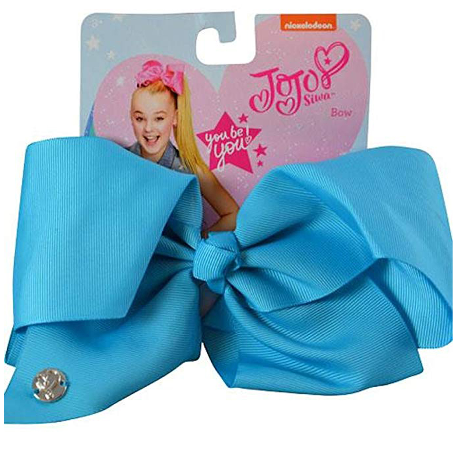 Nickelodeon JoJo Siwa Girls Large Hair Clip Style Bow Neon Blue Hair Accessory