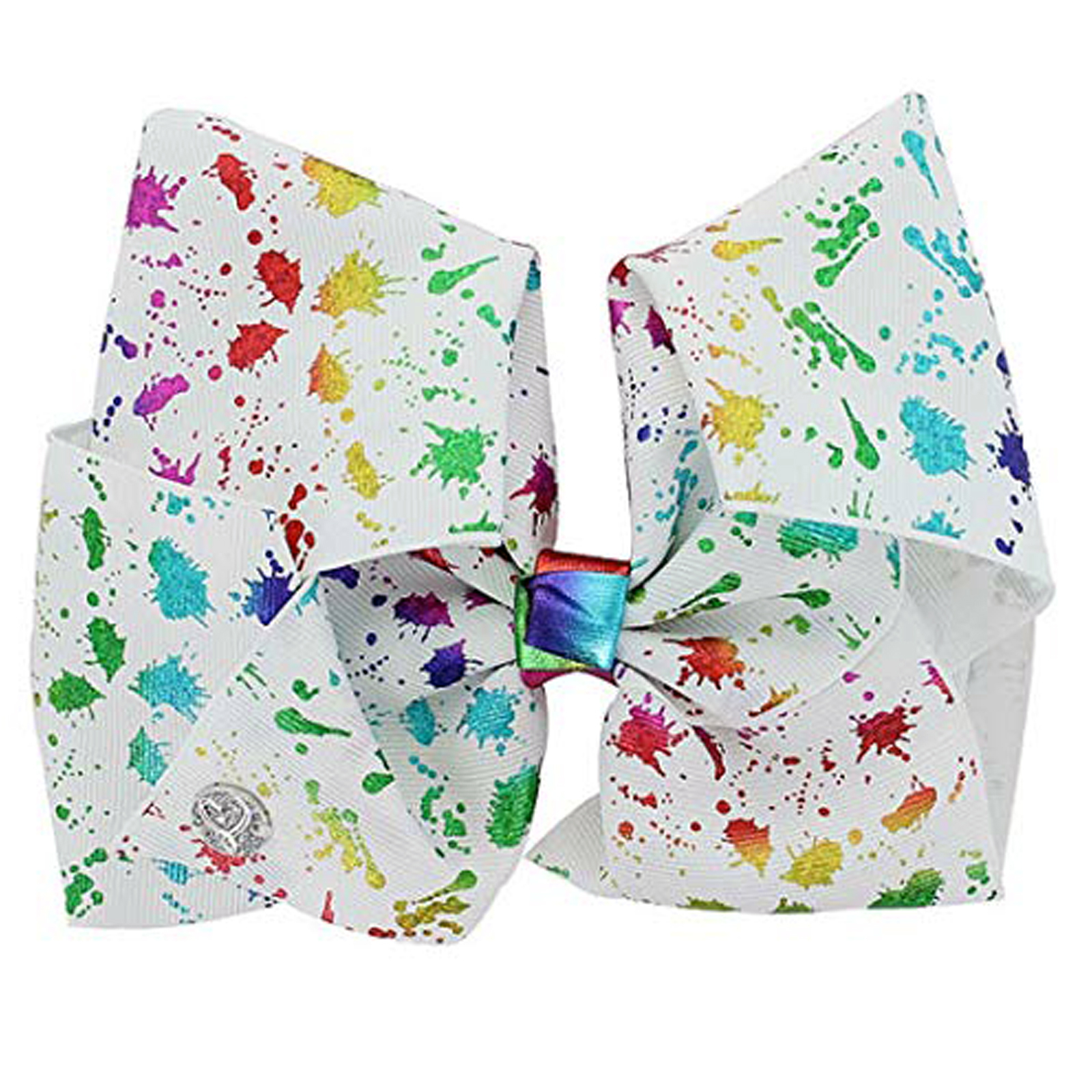 Nickelodeon JoJo Siwa Girls Large Hair Clip Bow Rainbow Paint Splatter Accessory