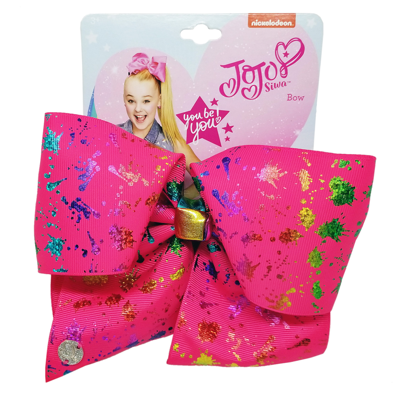 Nickelodeon JoJo Siwa Girls Large Pink Bow Rainbow Splatter